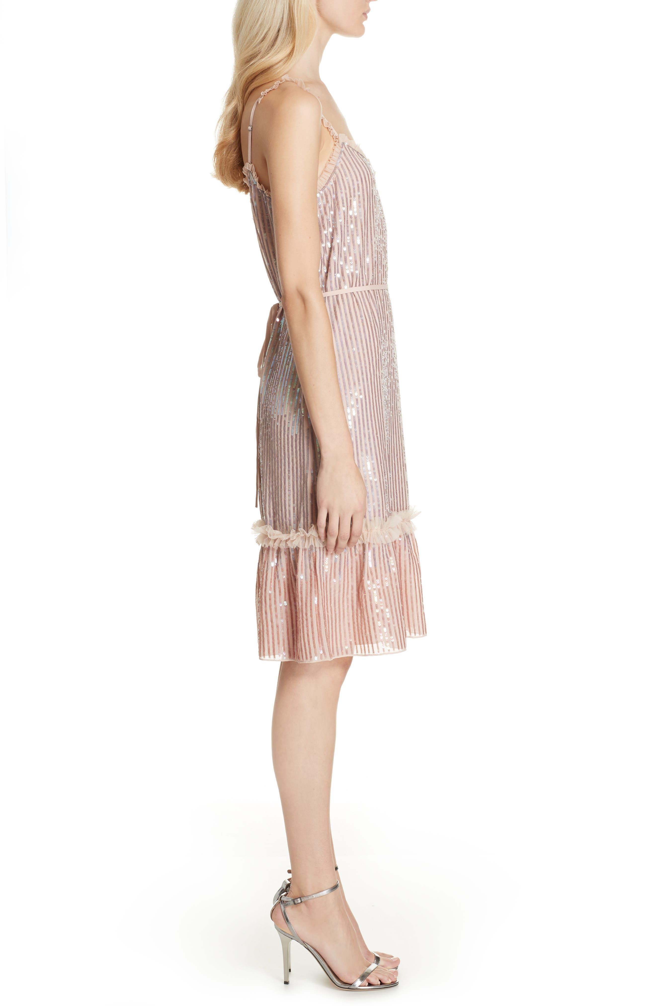 Gloss Sequin Ruffle Dress,                             Alternate thumbnail 3, color,                             DUSK BLUE