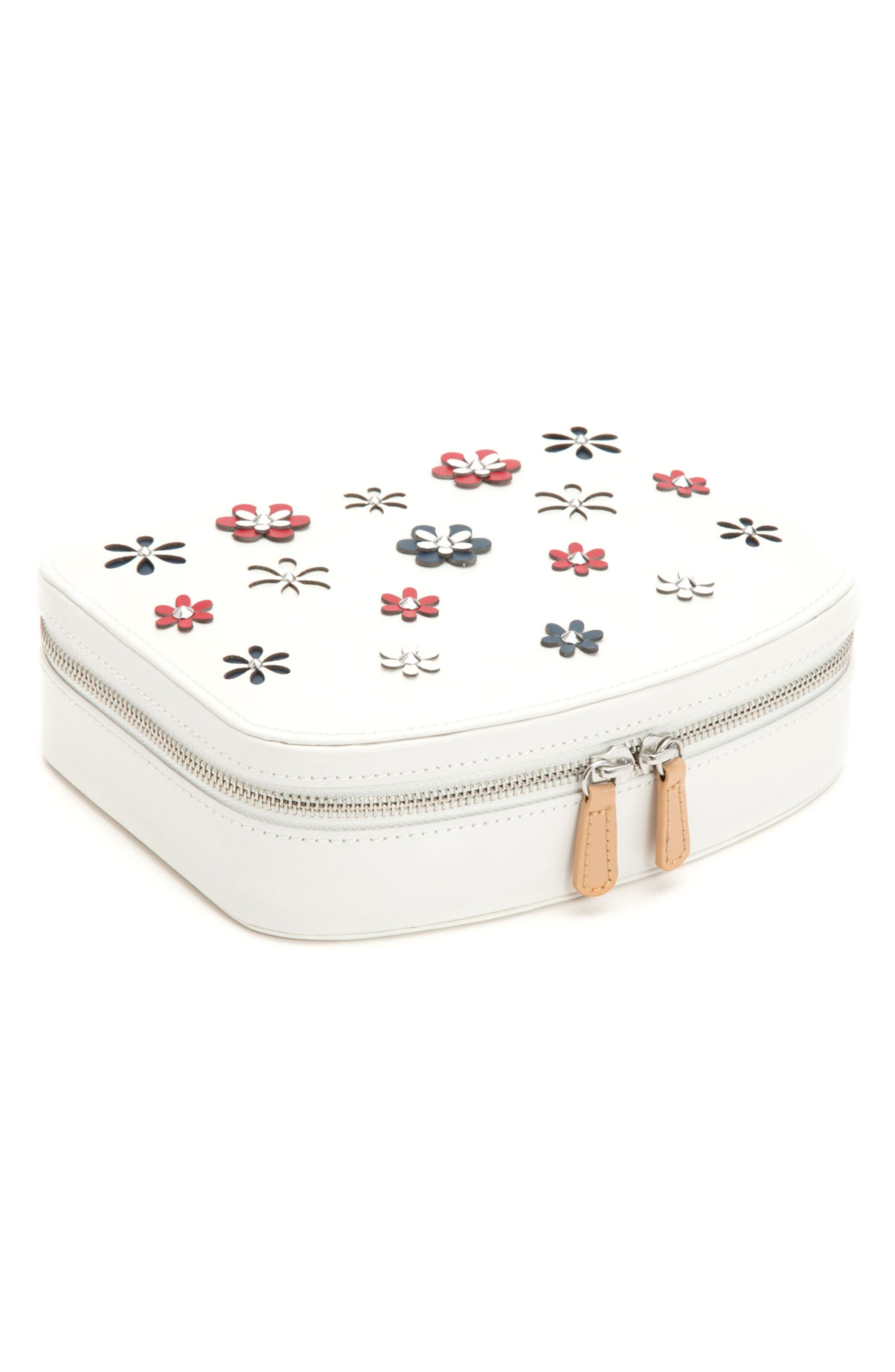 Blossom Leather Travel Jewelry Case,                             Alternate thumbnail 4, color,                             IVORY