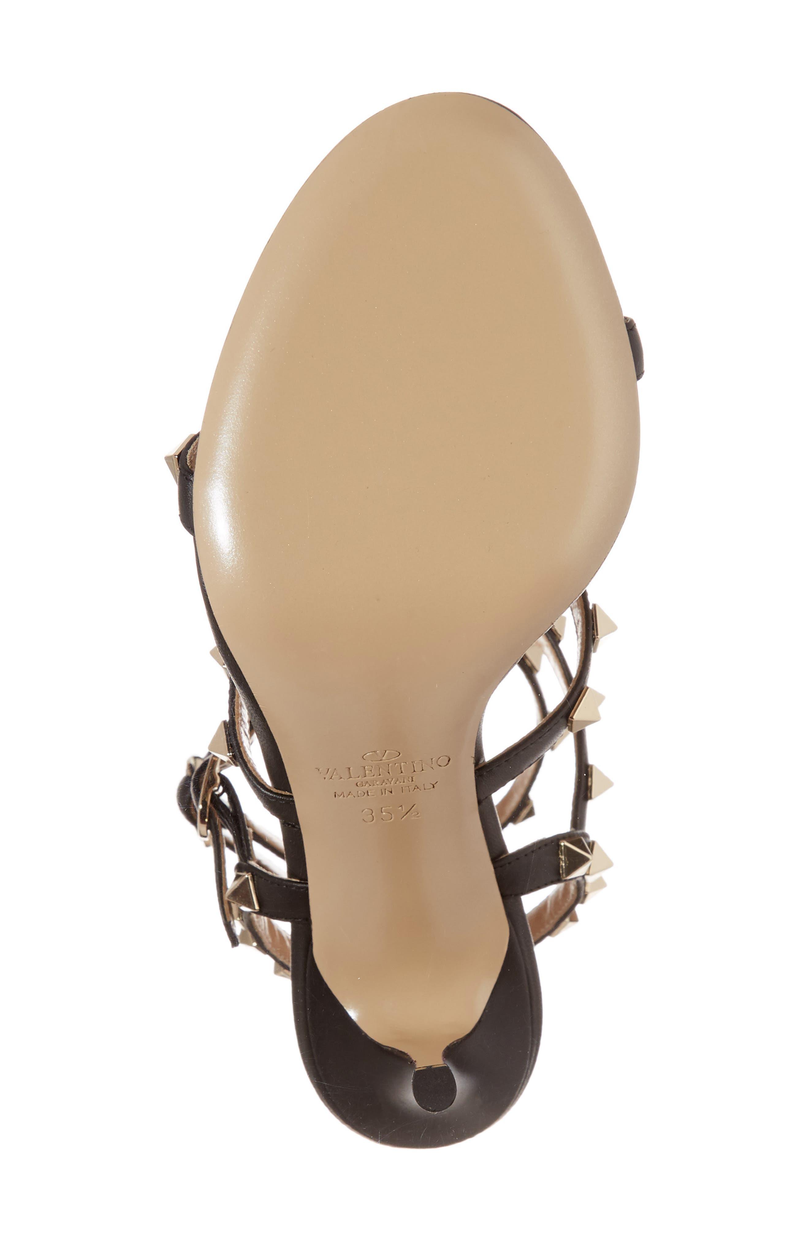 'Rockstud' Ankle Strap Sandal,                             Alternate thumbnail 6, color,                             001