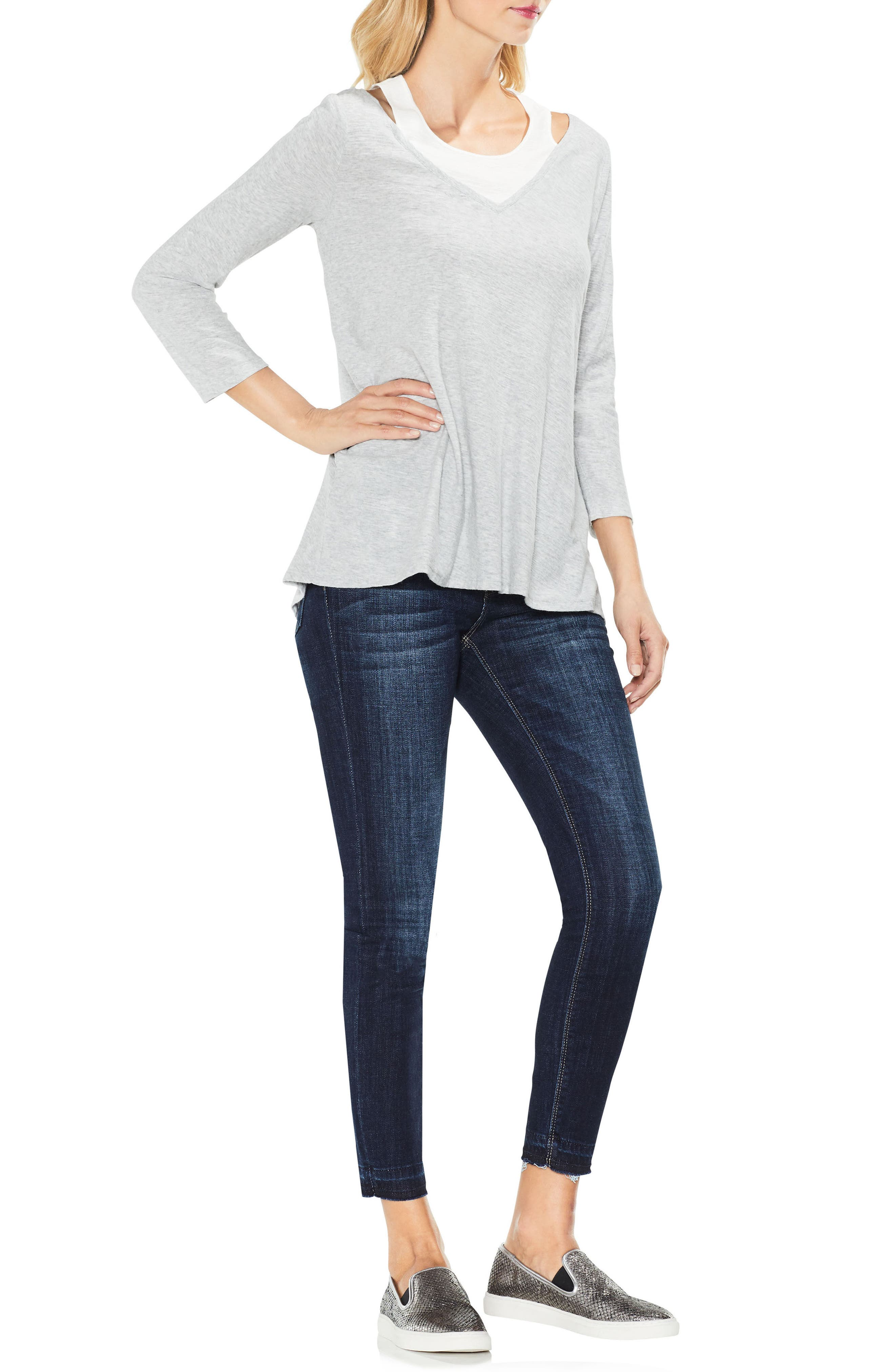 Two by Vince Camuto Layered Top,                             Alternate thumbnail 4, color,                             050