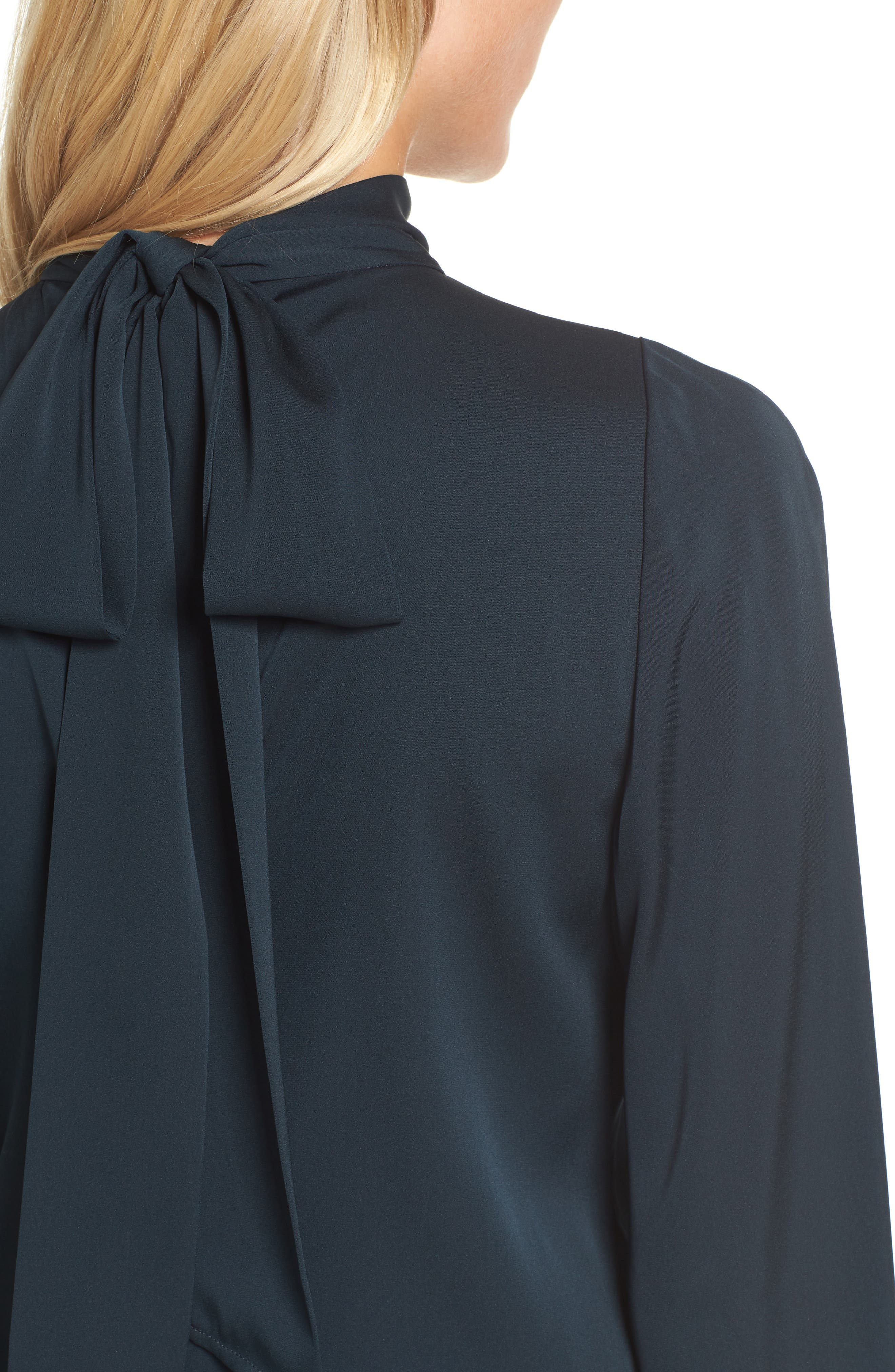 Tie Back Stretch Silk Blouse,                             Alternate thumbnail 4, color,                             301