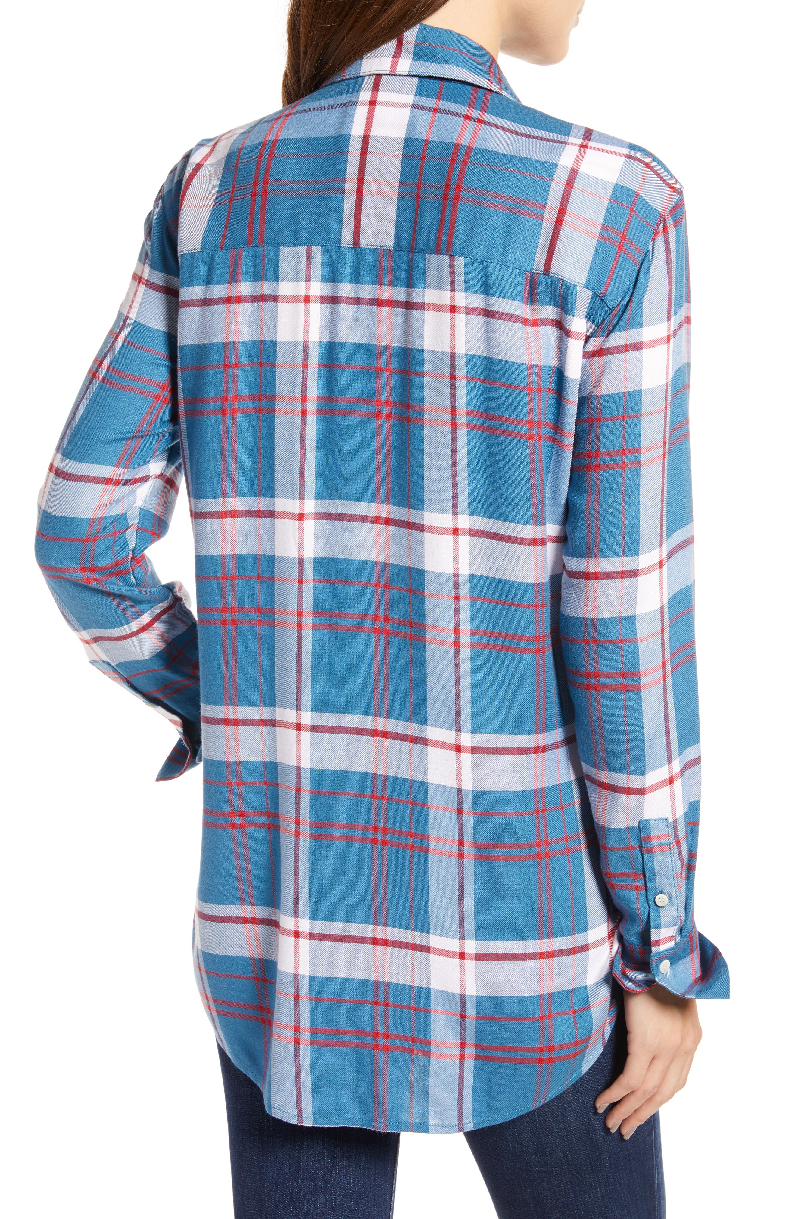 Plaid Boyfriend Shirt,                             Alternate thumbnail 2, color,                             BLUE WATER FOREST PLAID