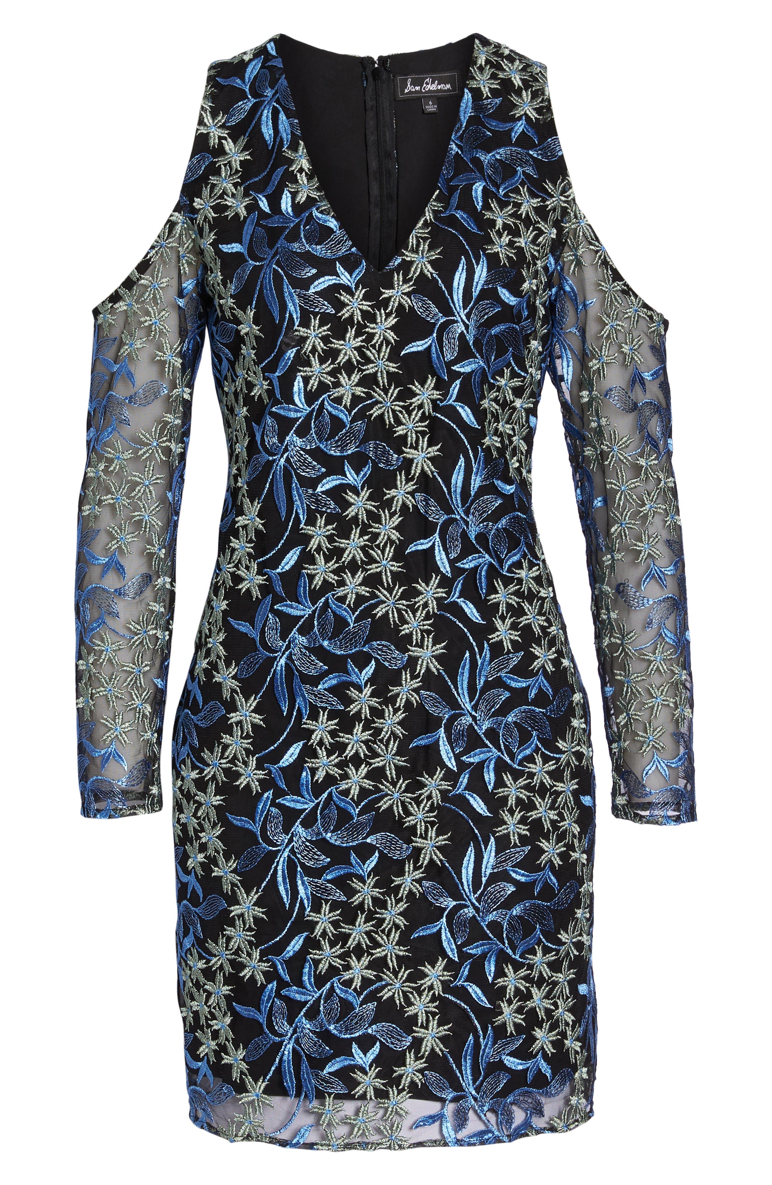 Floral Embroidered Cold Shoulder Dress,                             Alternate thumbnail 7, color,                             BLUE/ GREEN