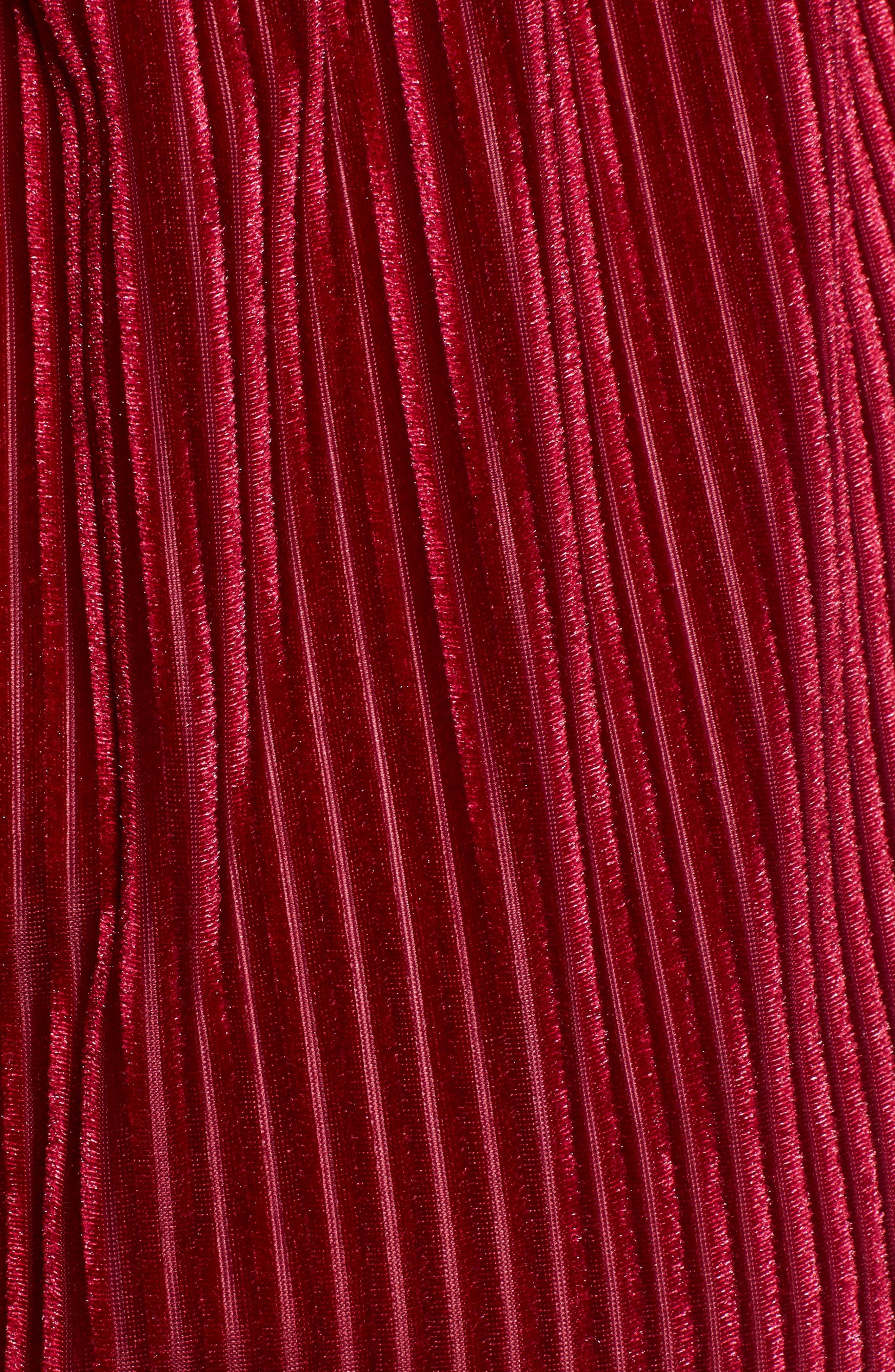 Adore Shadow Stripe Velvet Romper,                             Alternate thumbnail 6, color,                             CHERRY