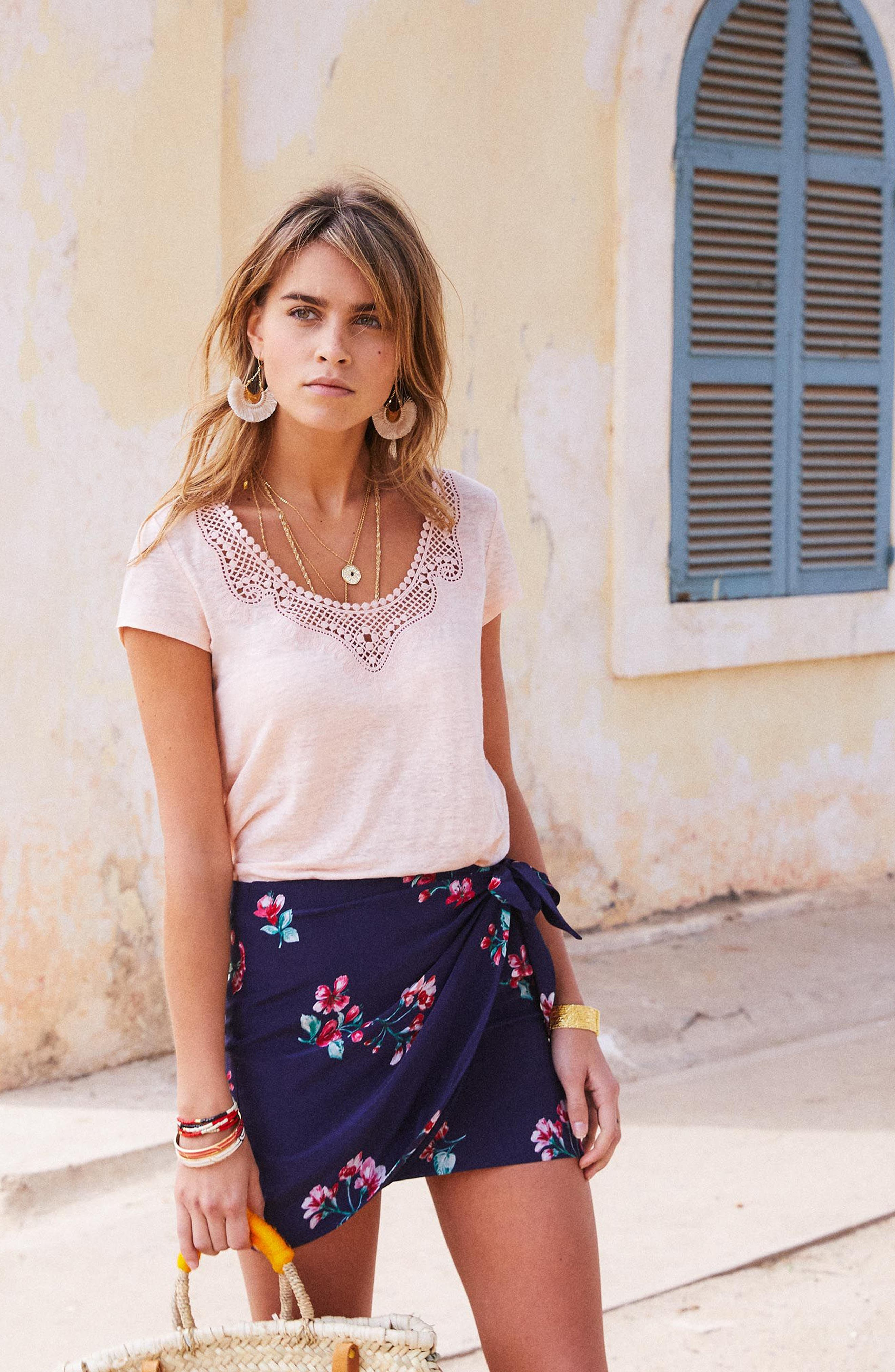 Pacome Floral Silk Skirt,                             Alternate thumbnail 6, color,                             400