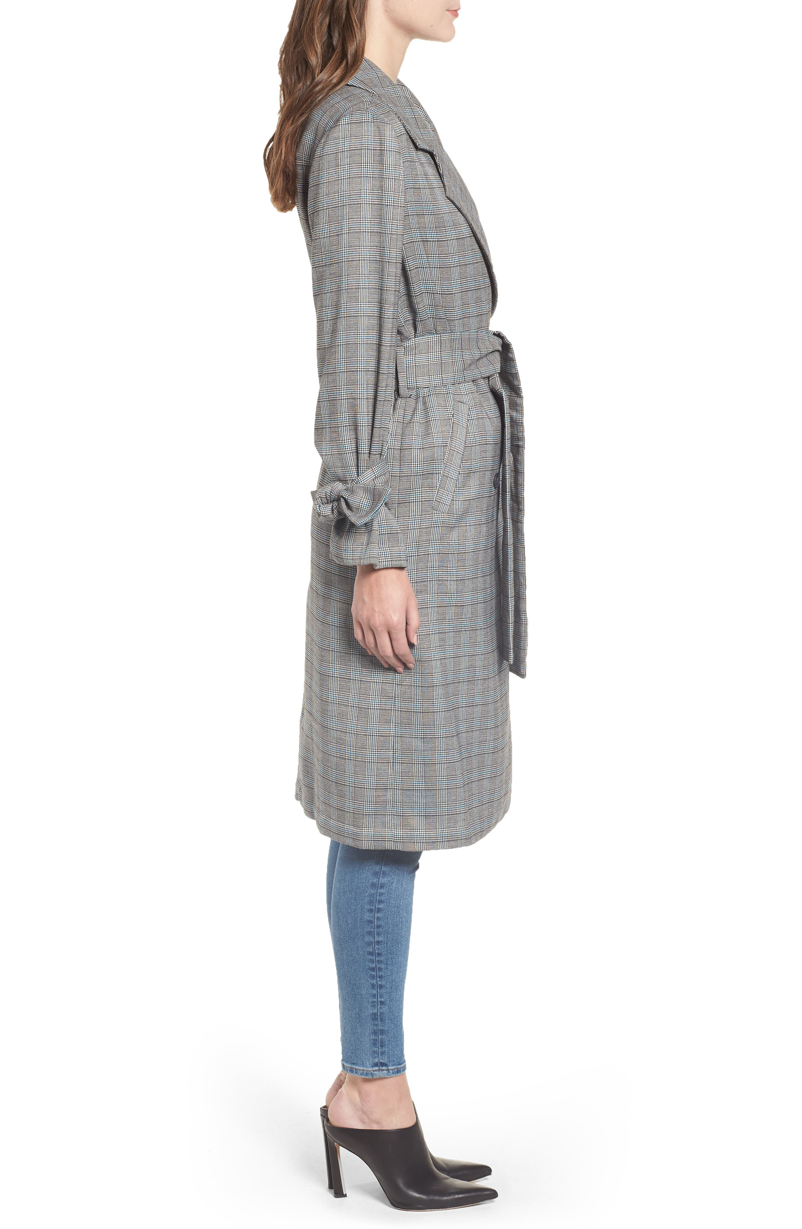 Belted Trench Coat,                             Alternate thumbnail 3, color,                             TEAL CASEY PLAID