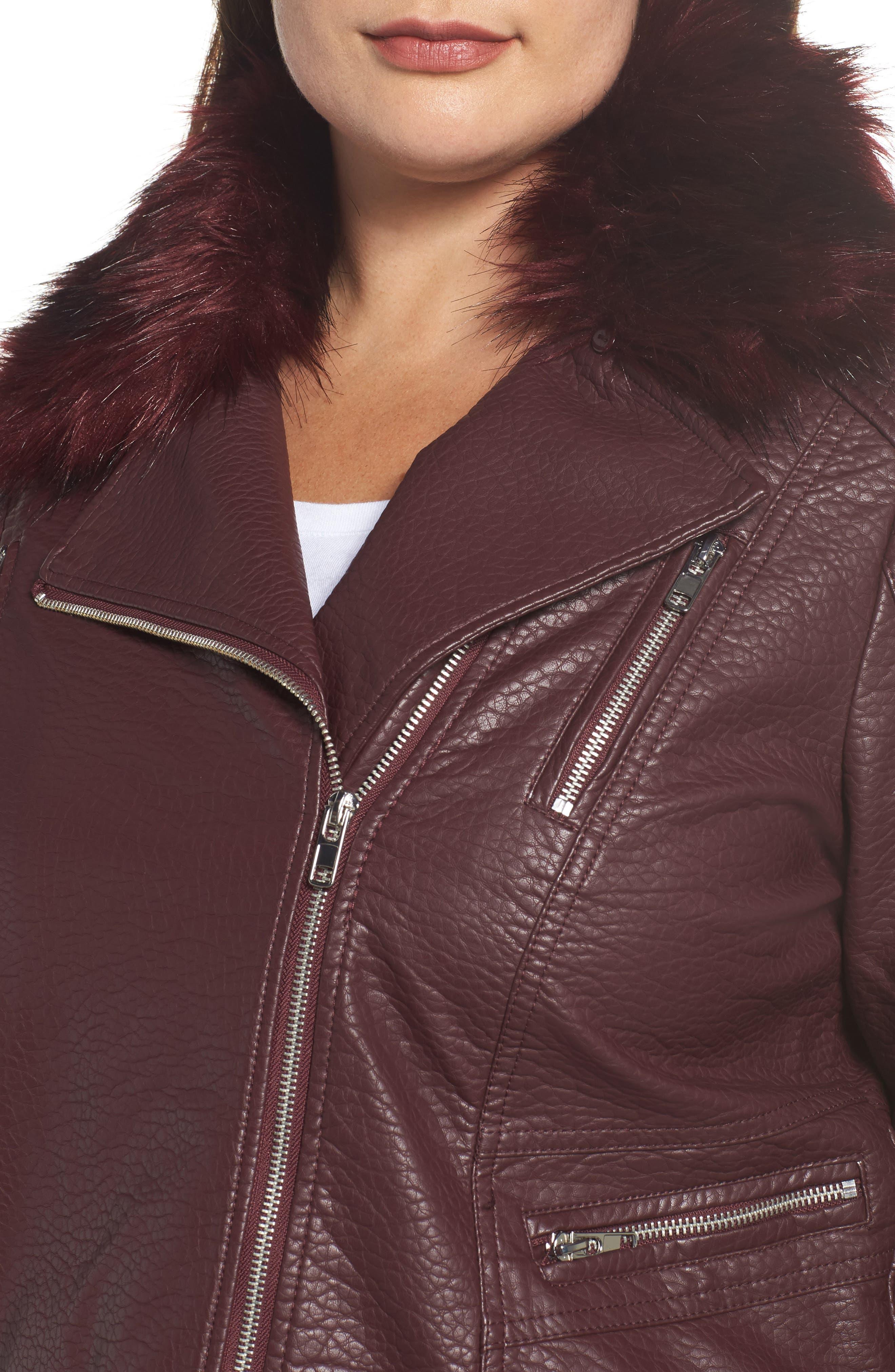 Faux Fur Trim Moto Jacket,                             Alternate thumbnail 4, color,                             601