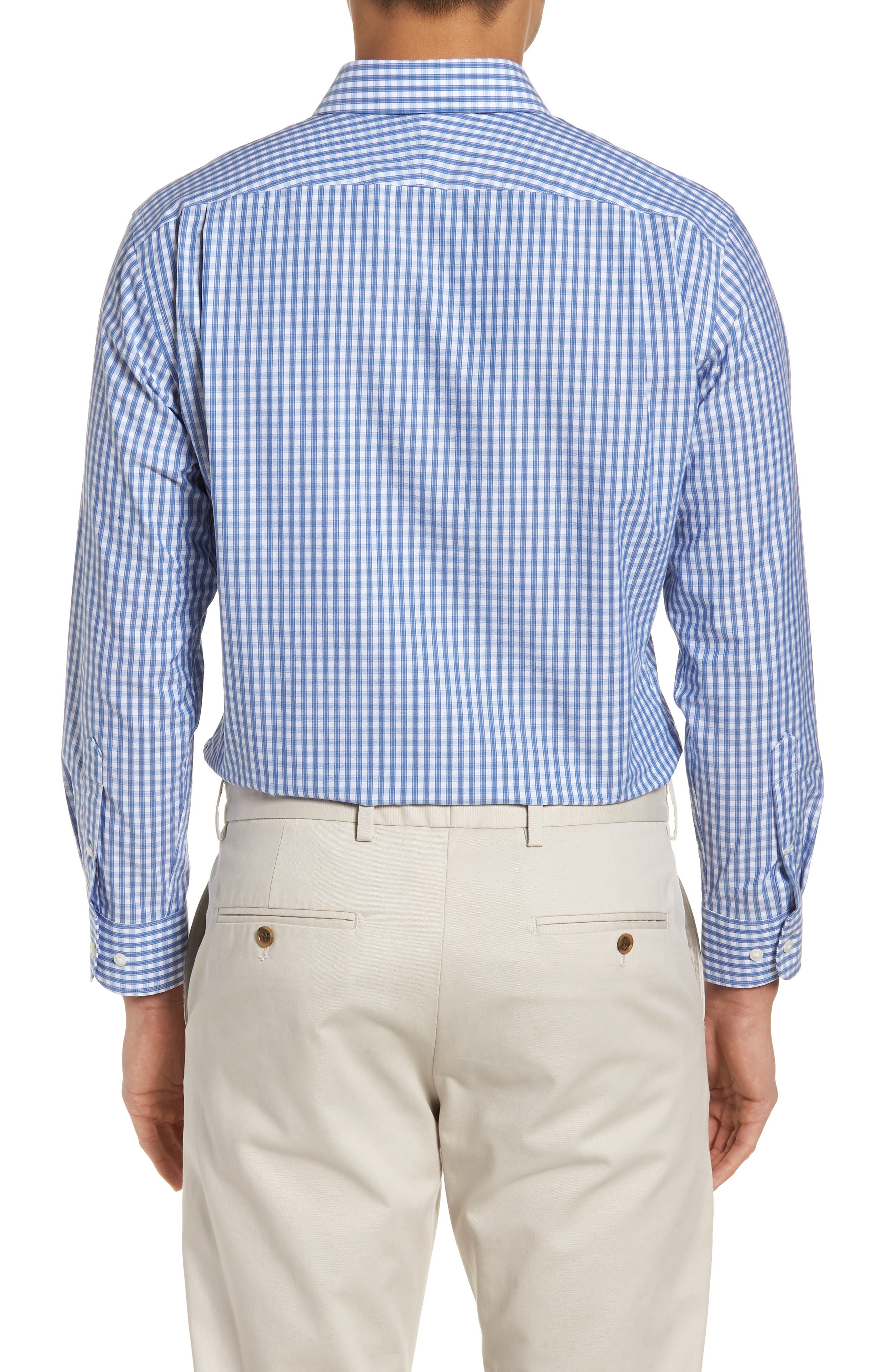 Trim Fit Non-Iron Check Dress Shirt,                             Alternate thumbnail 8, color,