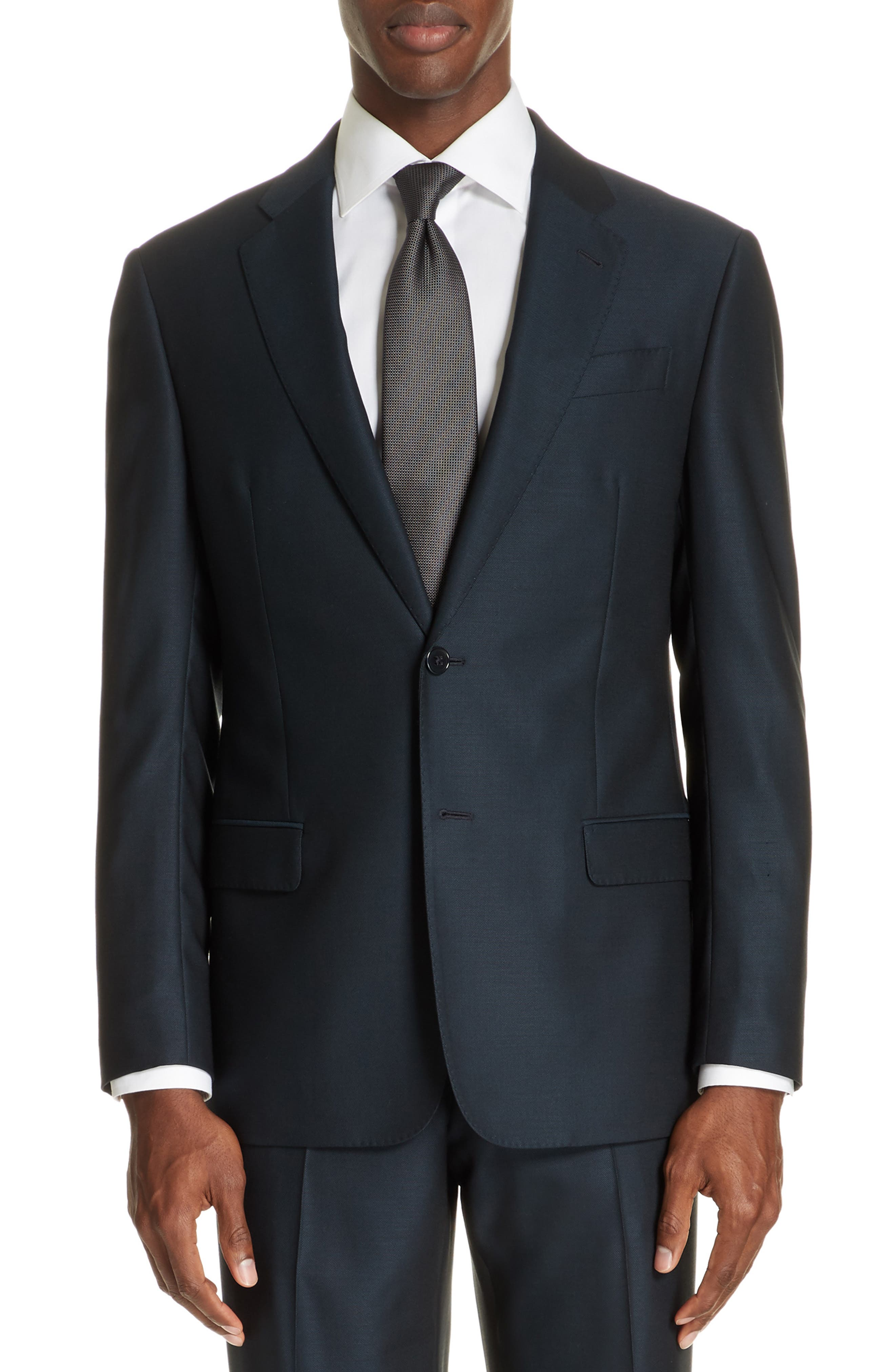 G-Line Trim Fit Solid Wool Suit,                             Alternate thumbnail 5, color,                             BLUE