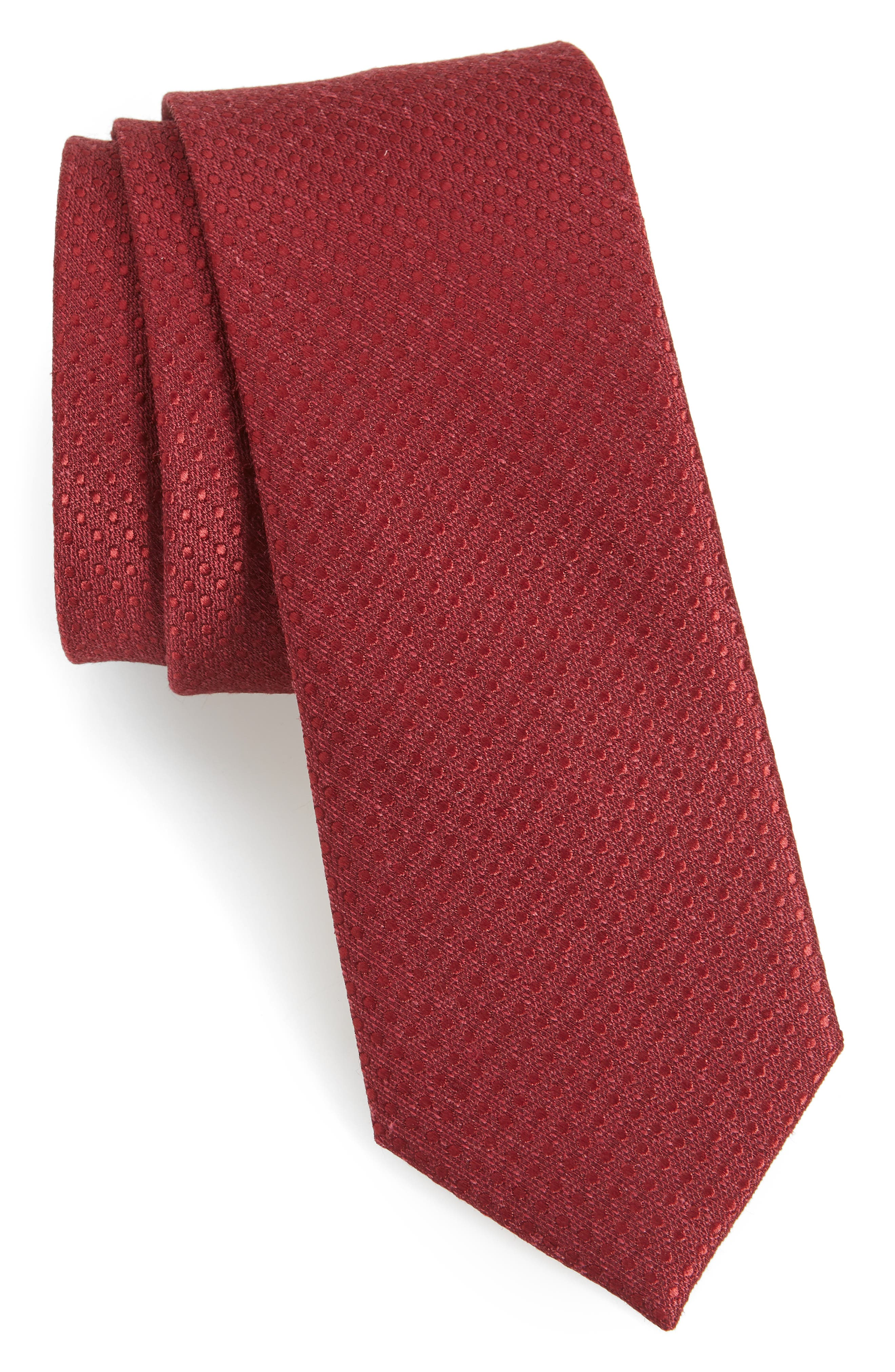 Spin Dot Silk & Cotton Tie,                             Main thumbnail 1, color,                             BURGUNDY