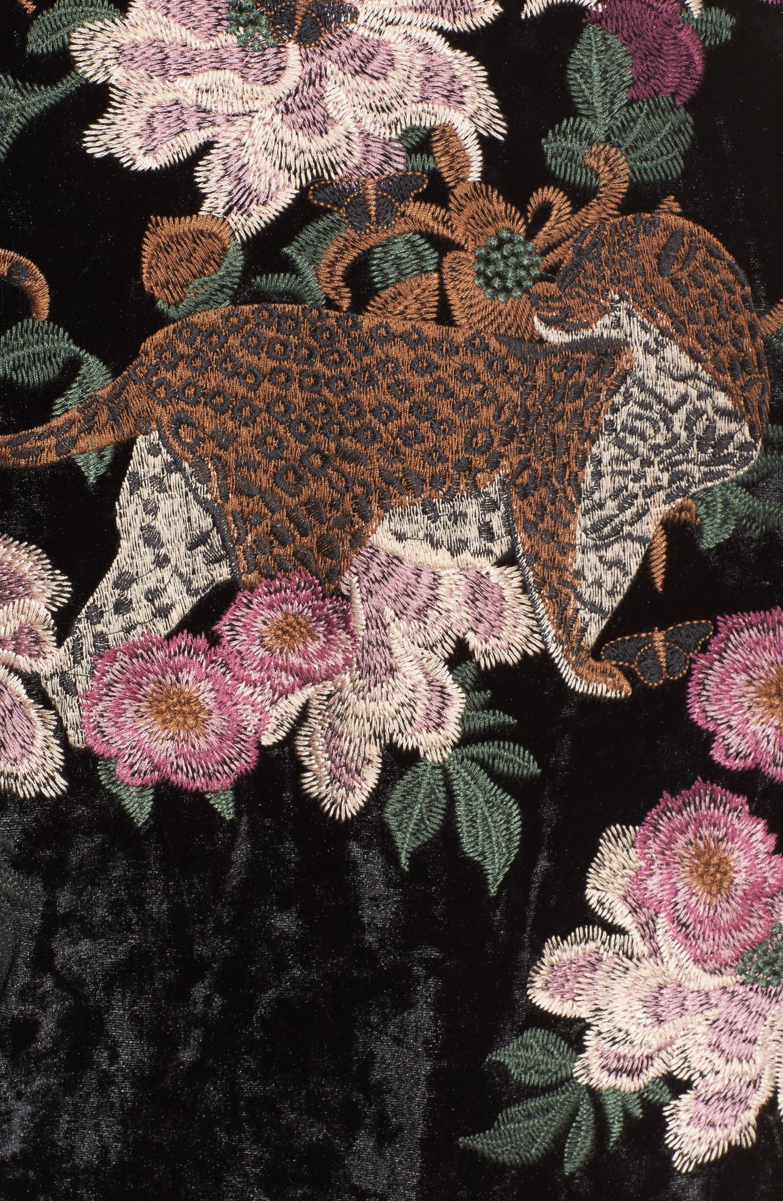 Embroidered Velvet Kimono Jacket,                             Alternate thumbnail 6, color,                             001