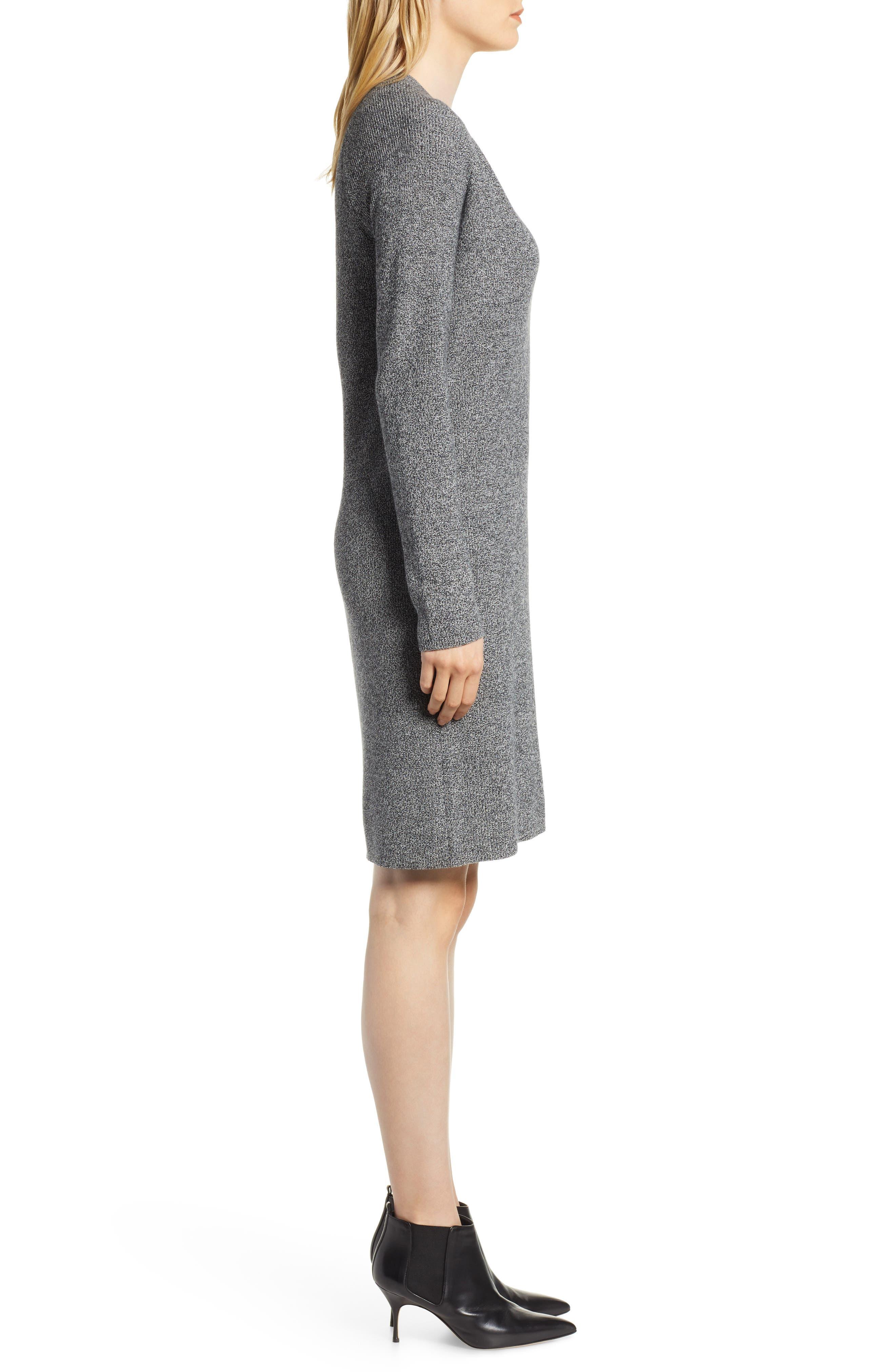 V-Neck Sweater Dress,                             Alternate thumbnail 3, color,                             BLACK- WHITE MARL