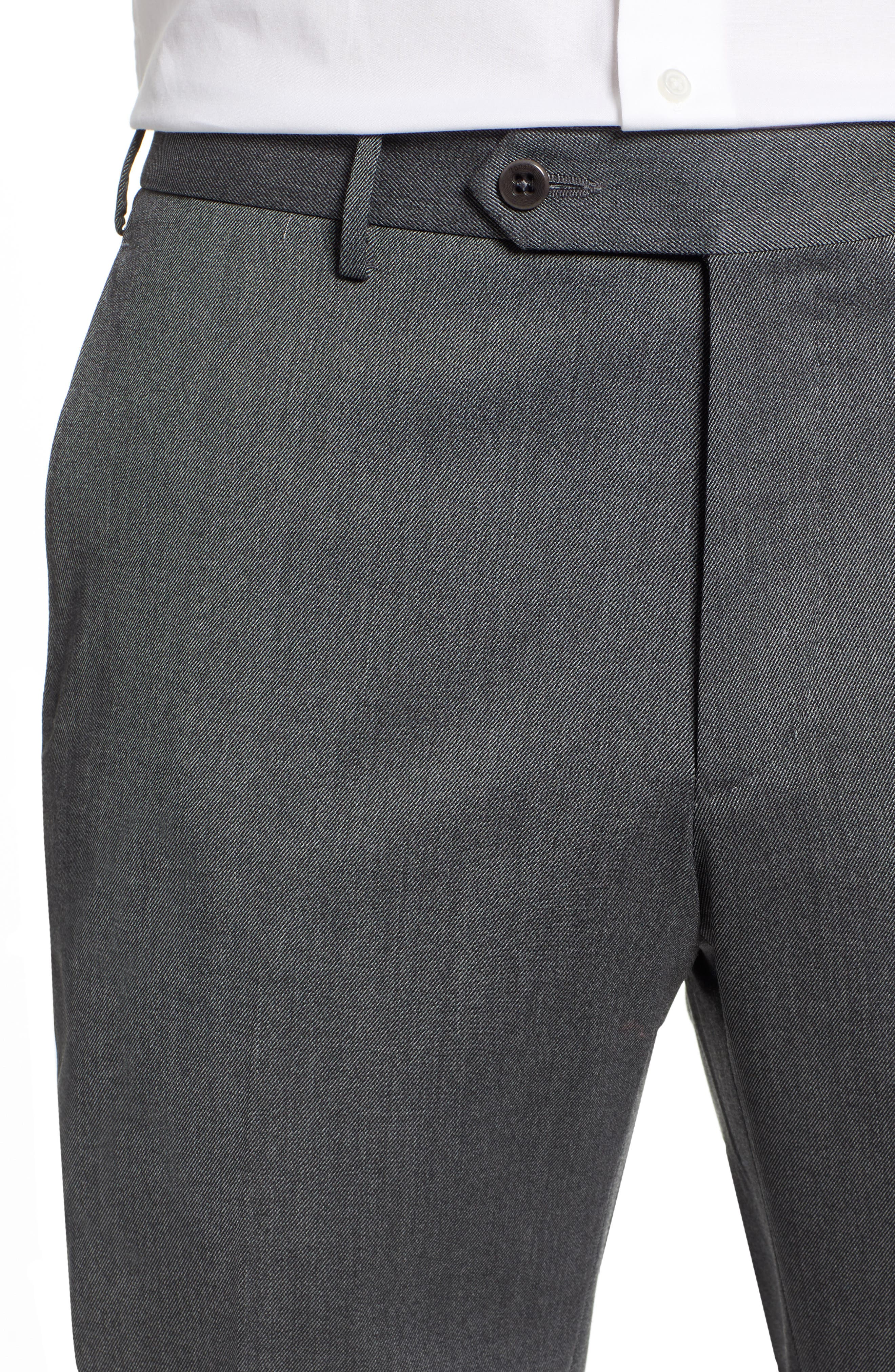 Parker Flat Front Stretch Twill Wool Trousers,                             Alternate thumbnail 4, color,                             GREY