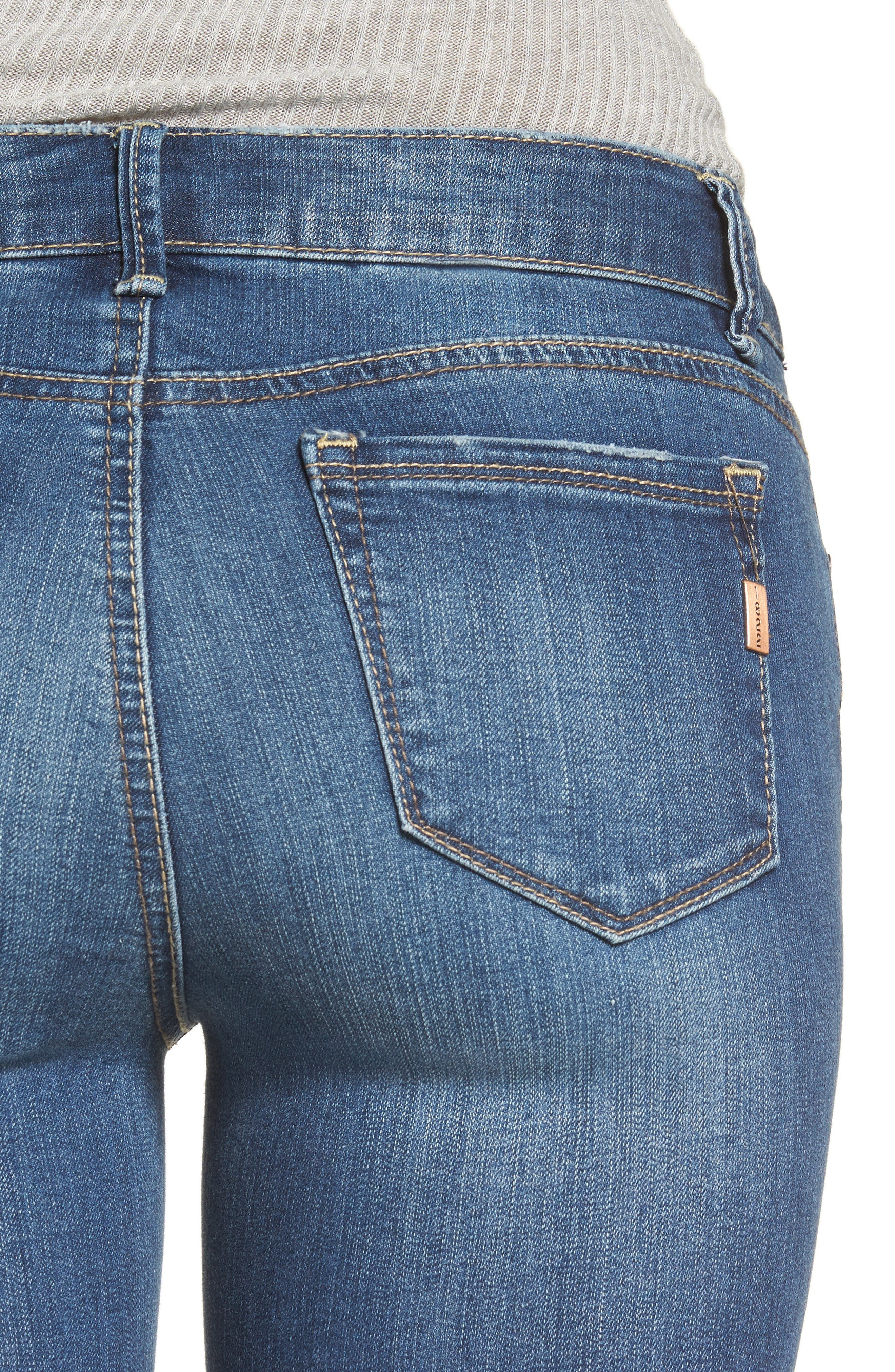 Cuffed Crop Skinny Jeans,                             Alternate thumbnail 4, color,                             IRENE