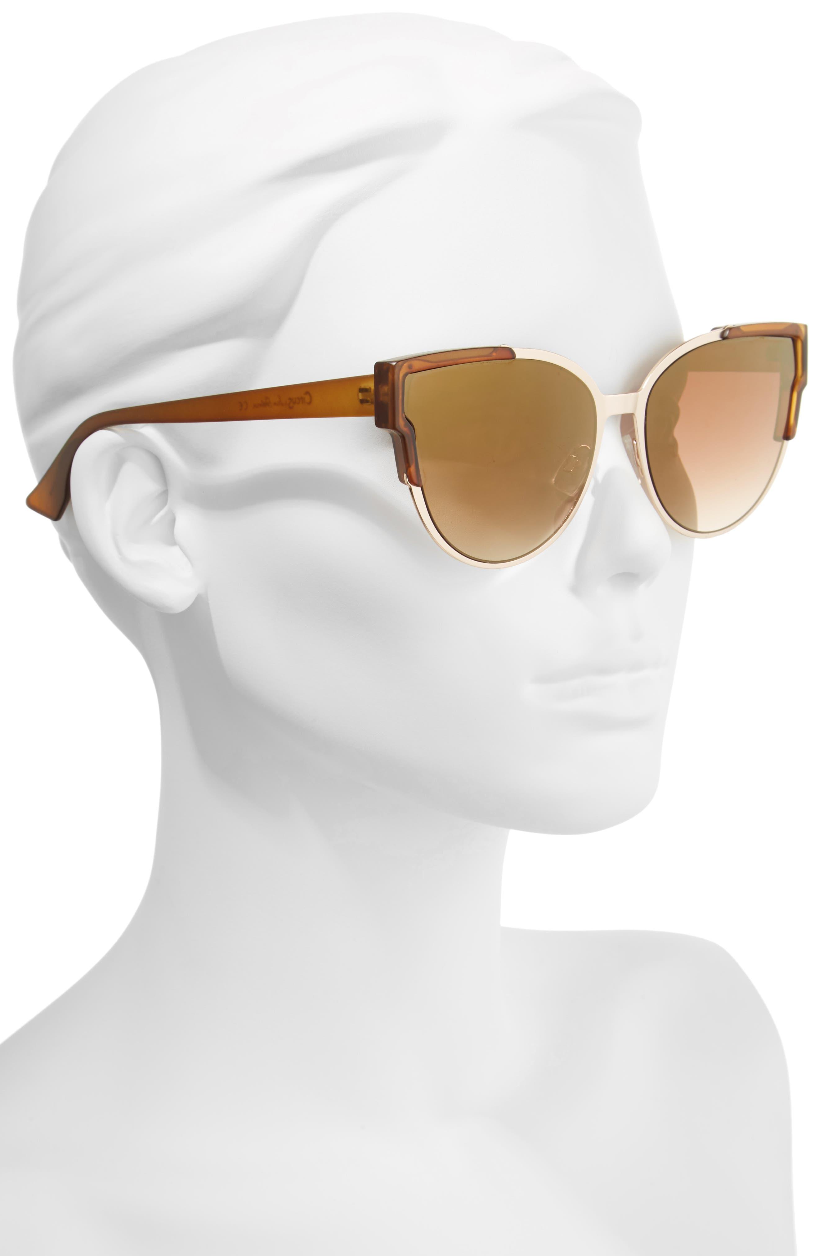 56mm Combo Cat Eye Sunglasses,                             Alternate thumbnail 6, color,