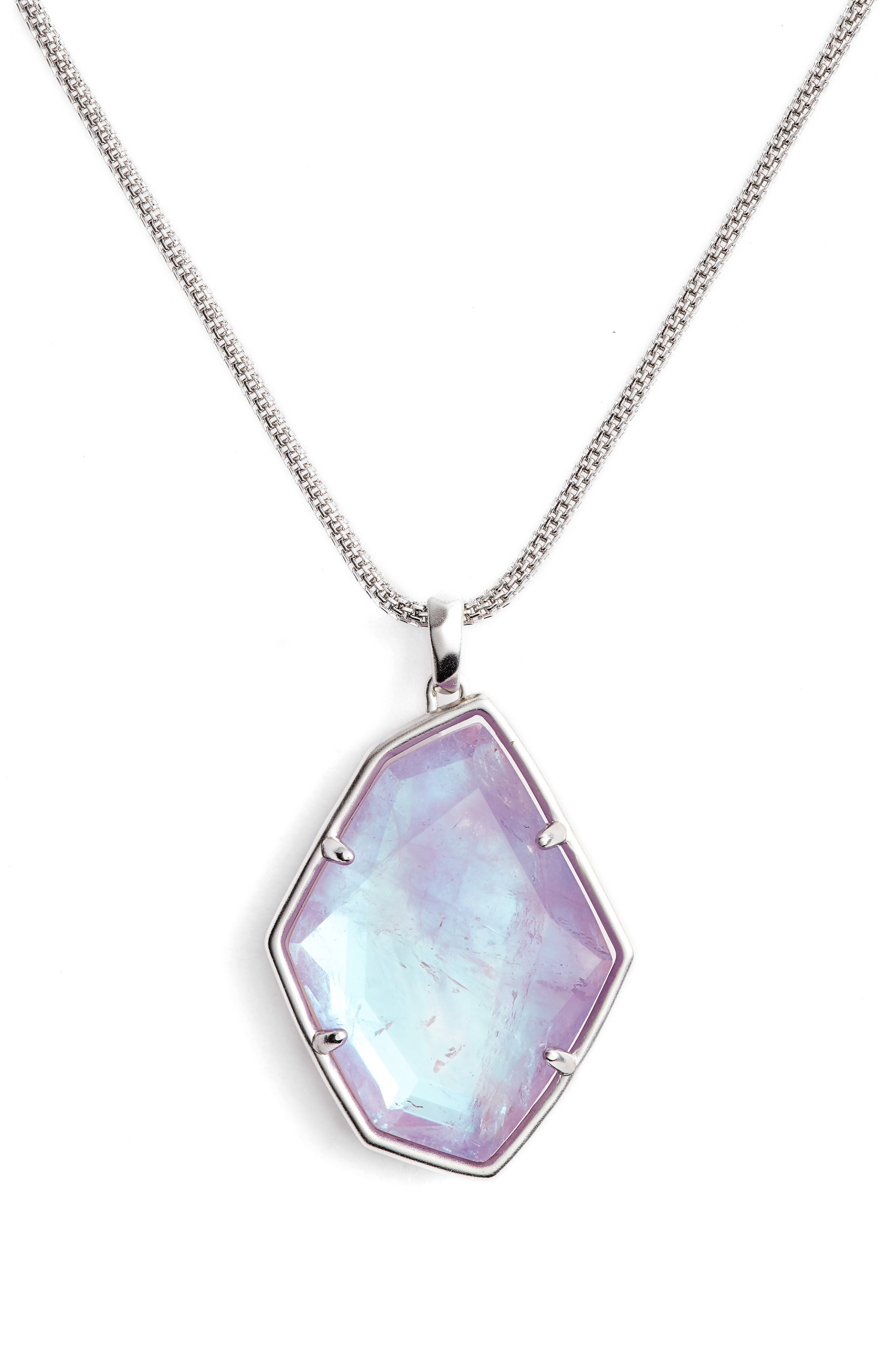 Kalani Long Adjustable Pendant Necklace,                             Alternate thumbnail 2, color,                             AMETHYST DICHROIC/ SILVER