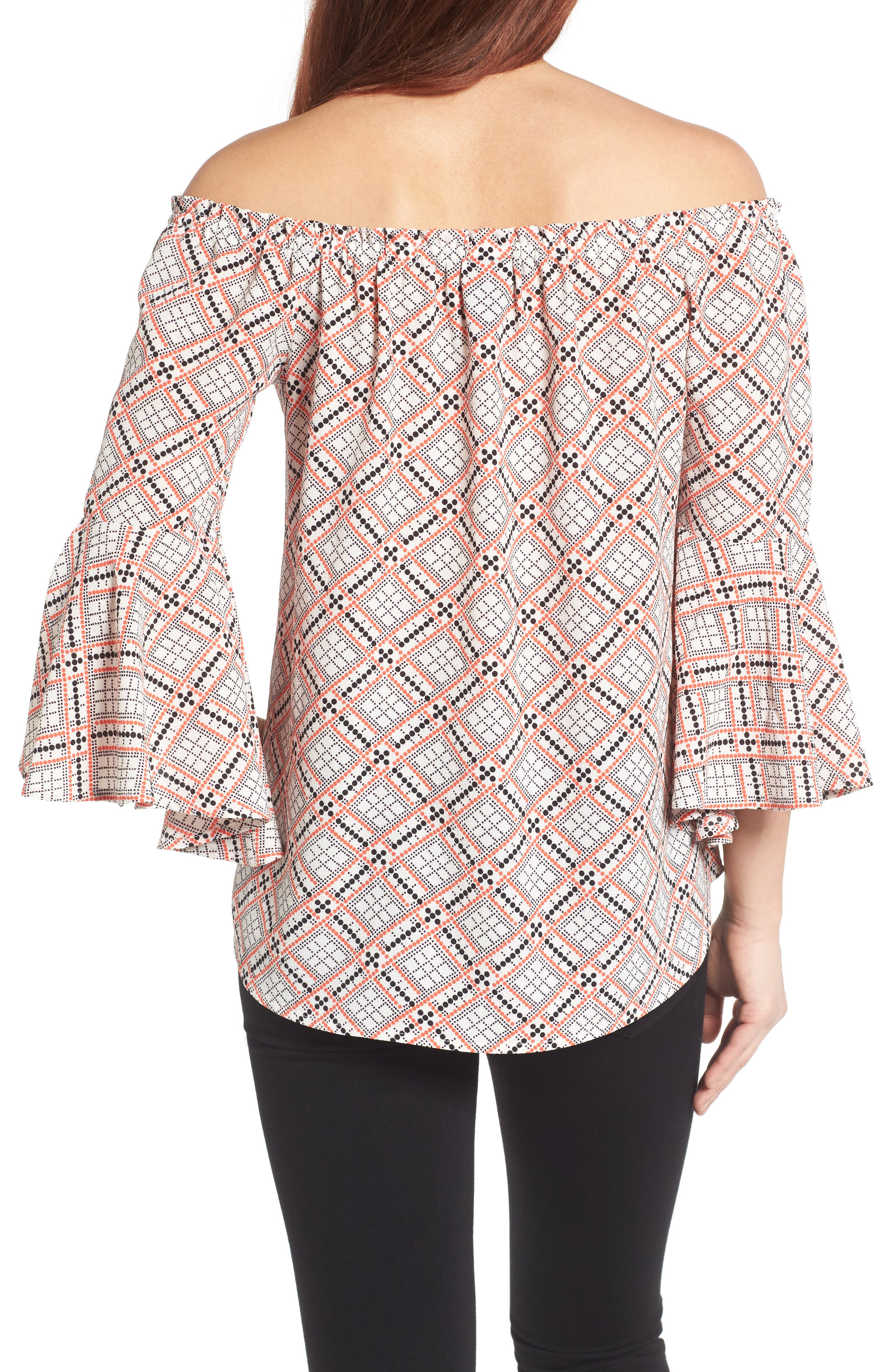 Bell Sleeve Off the Shoulder Blouse,                             Alternate thumbnail 4, color,