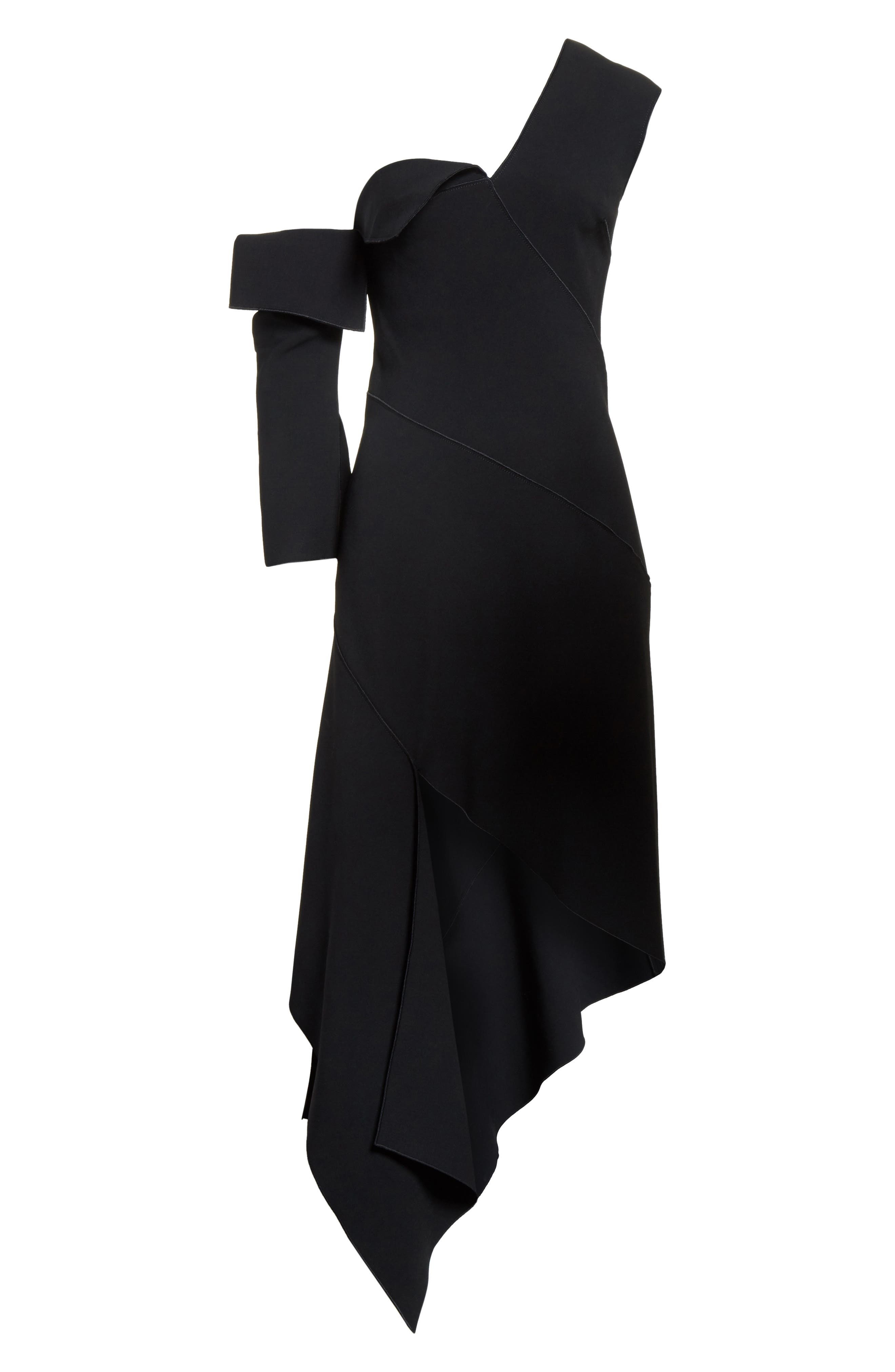 Double-Face Stretch Wool One-Shoulder Dress,                             Alternate thumbnail 6, color,                             001
