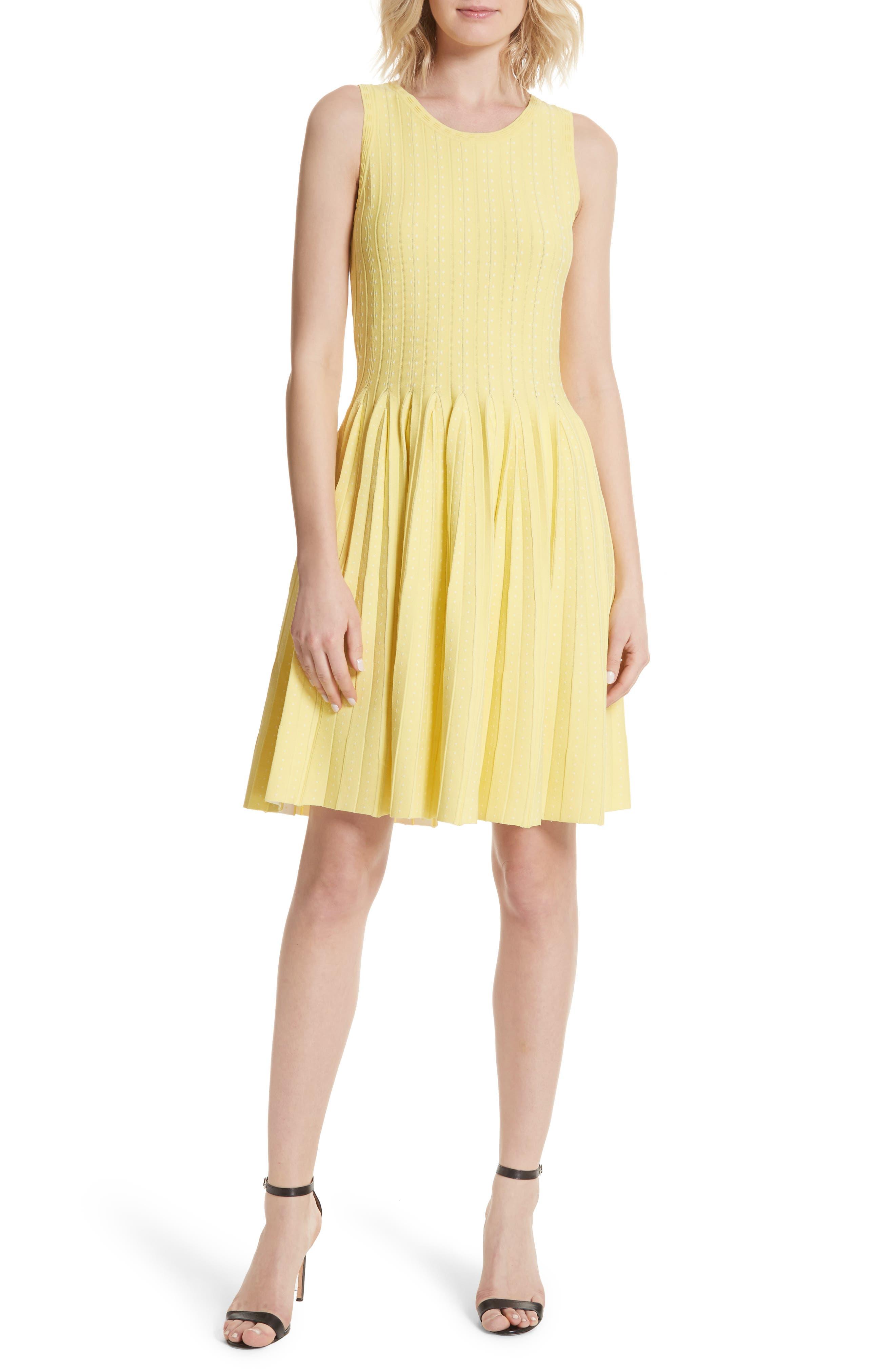 Dot Pleat Fit & Flare Dress,                         Main,                         color, LEMON/ WHITE