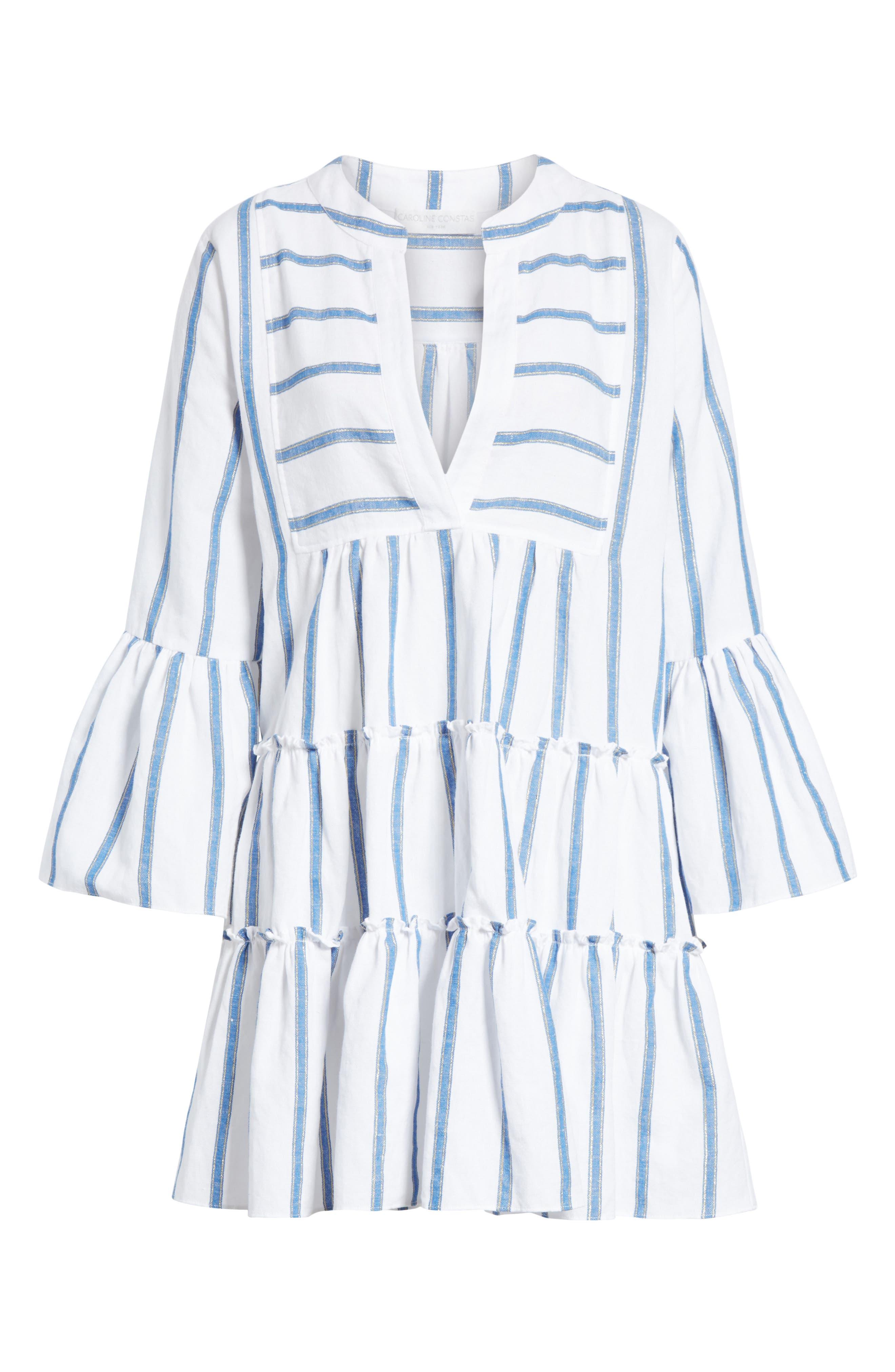 Lyssa Cotton & Linen Blend Dress,                             Alternate thumbnail 6, color,                             WHITE/ BLUE