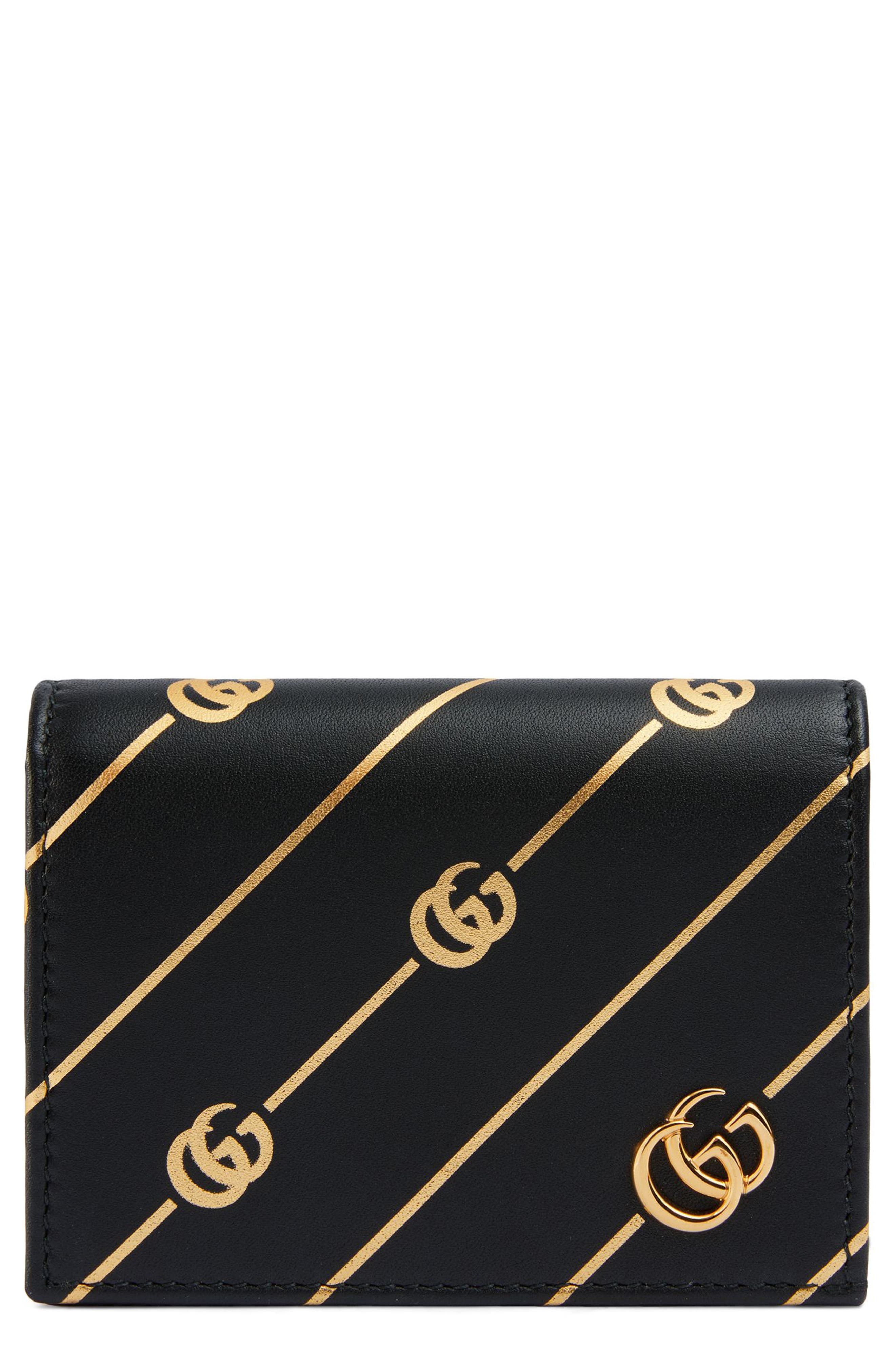 Diagonal GG Zip Around Card Case,                             Main thumbnail 1, color,                             NERO/ ORO