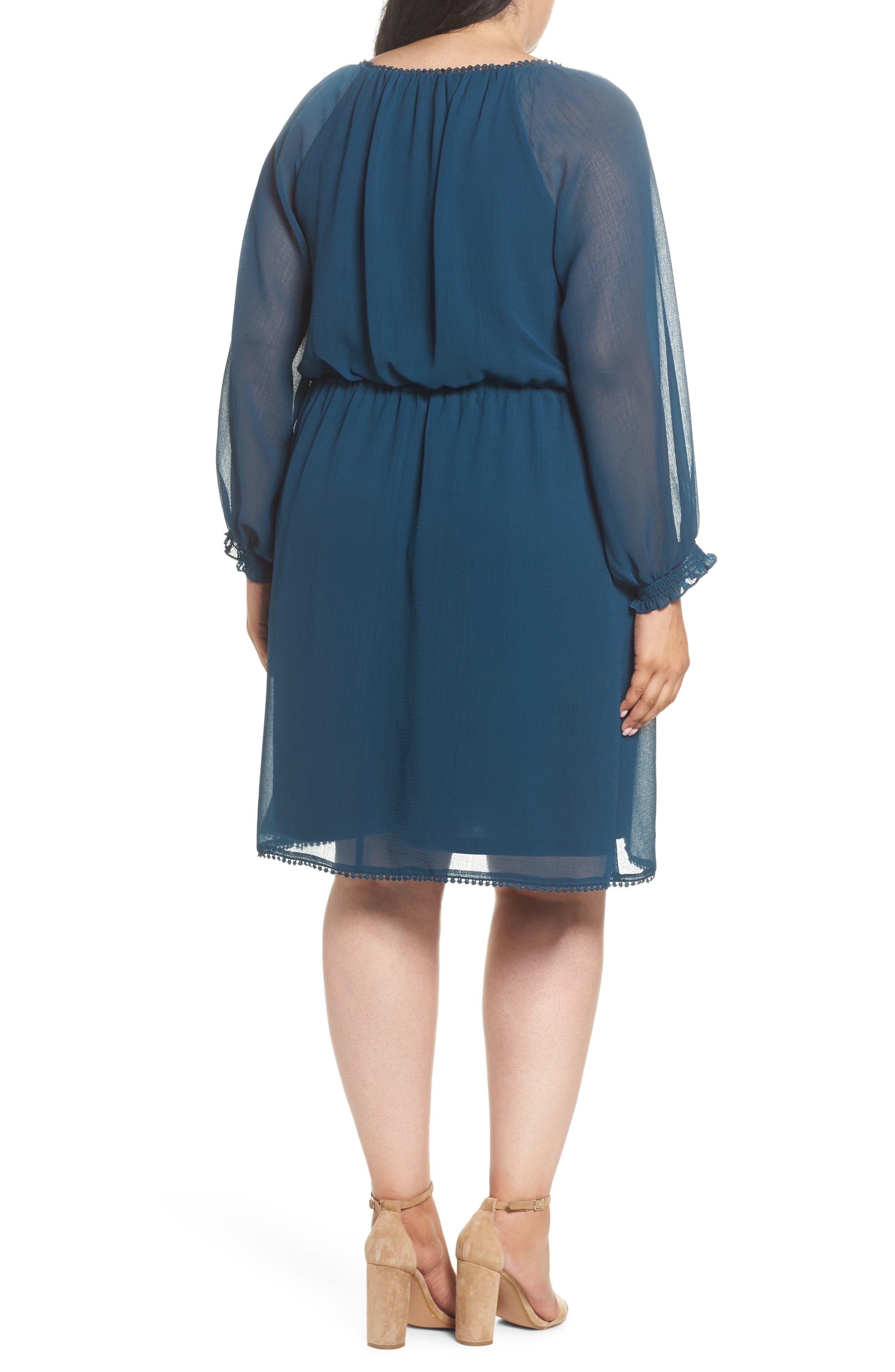 Bishop Sleeve Blouson Dress,                             Alternate thumbnail 2, color,                             471