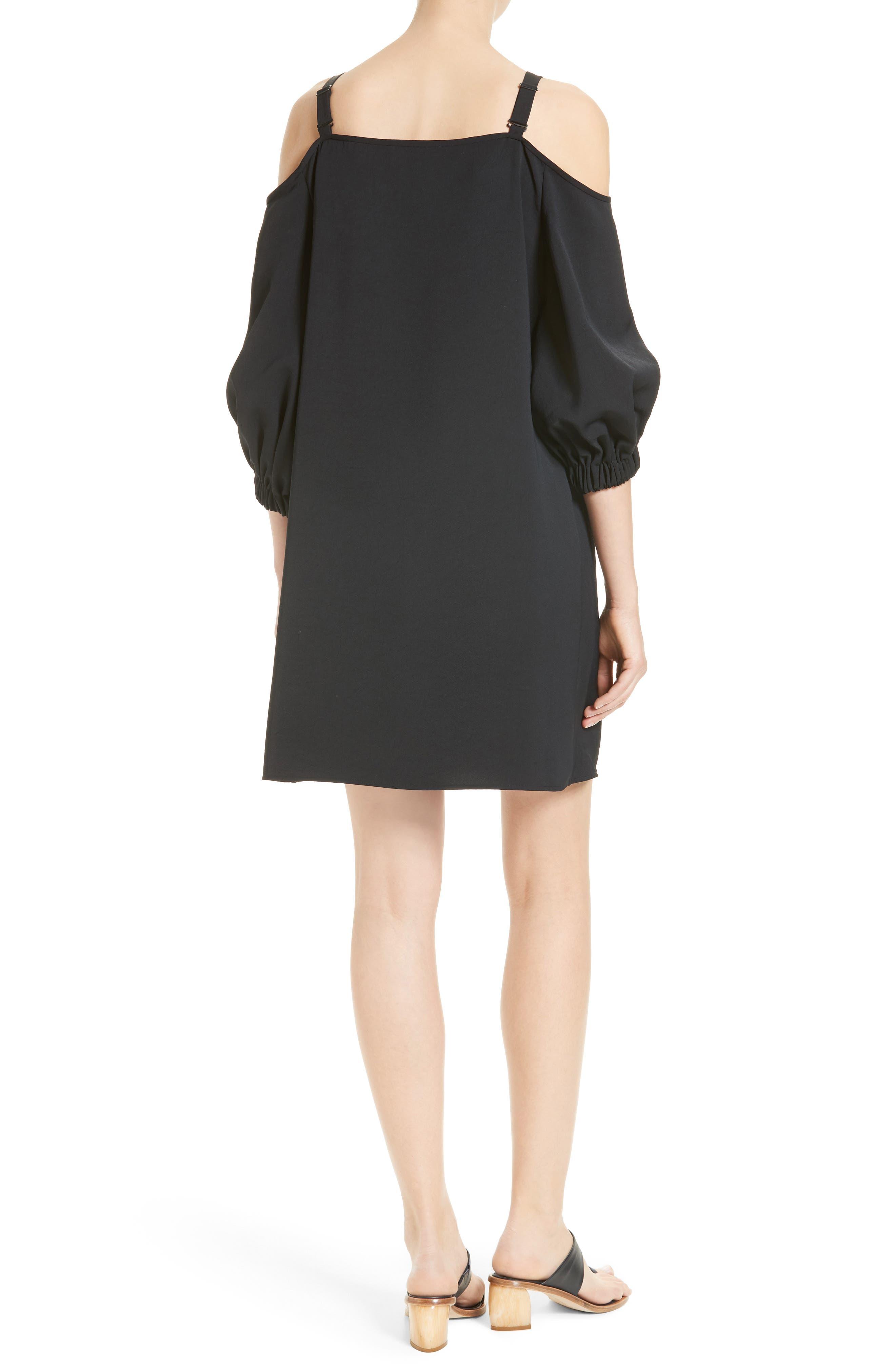 Cold Shoulder Suspender Shift Dress,                             Alternate thumbnail 2, color,                             001