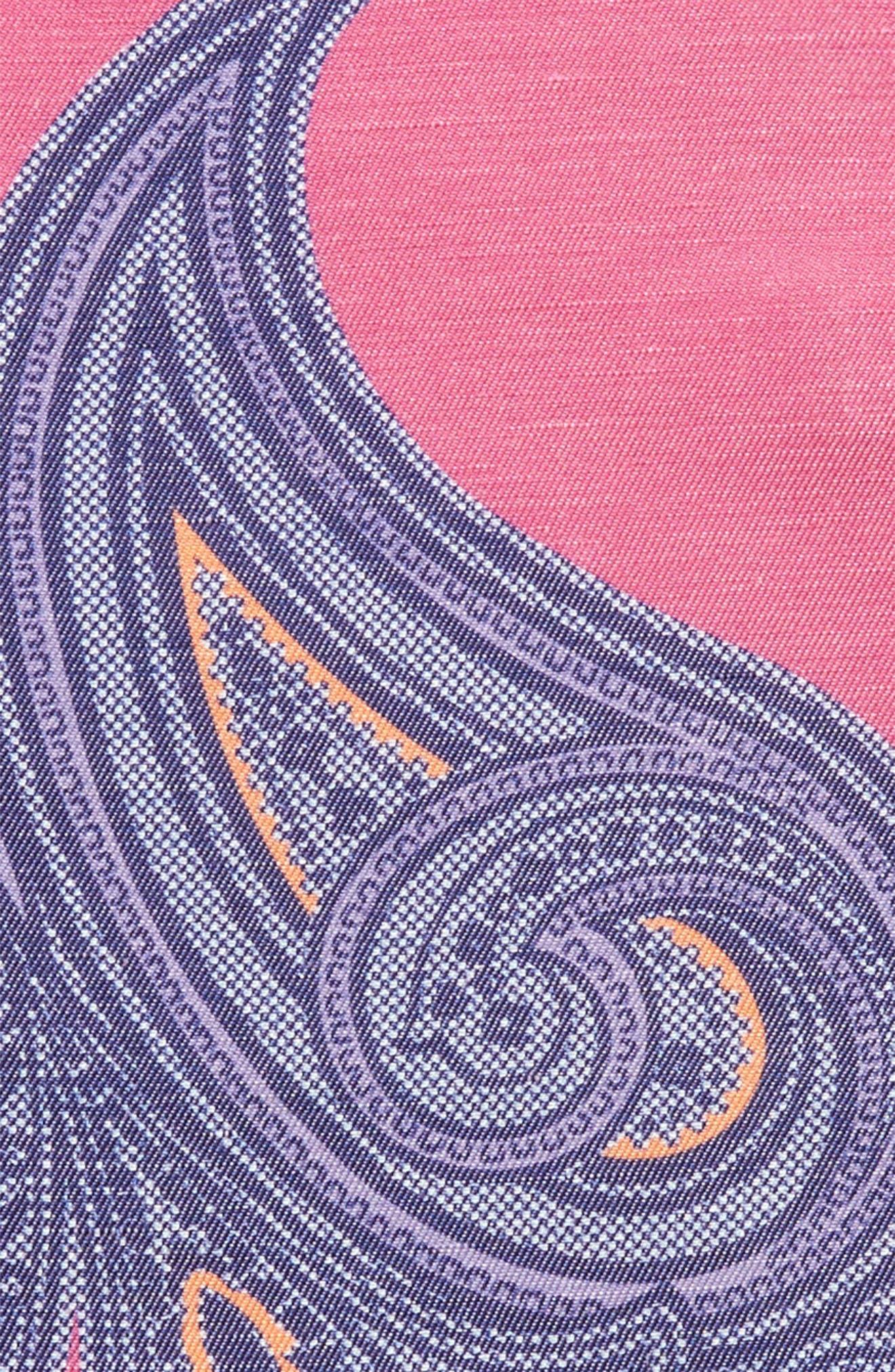 Paisley Linen & Silk Pocket Square,                             Alternate thumbnail 3, color,                             PINK