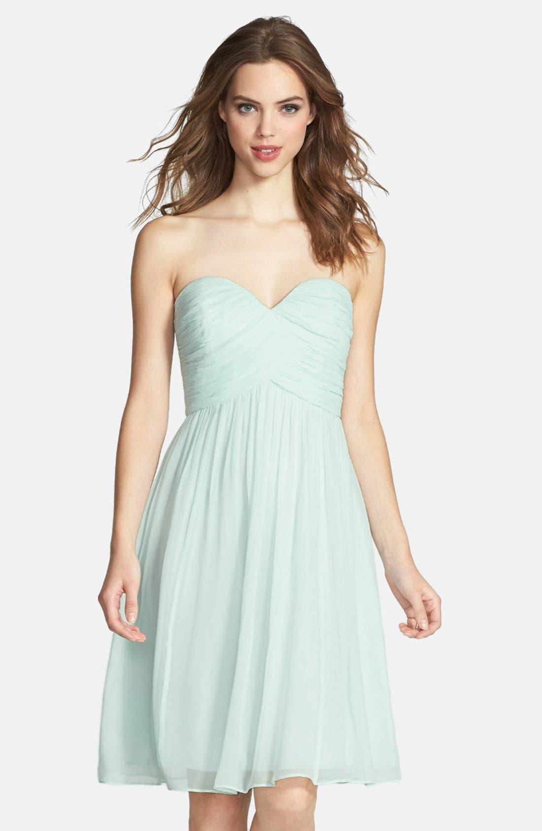 'Morgan' Strapless Silk Chiffon Dress,                             Main thumbnail 13, color,