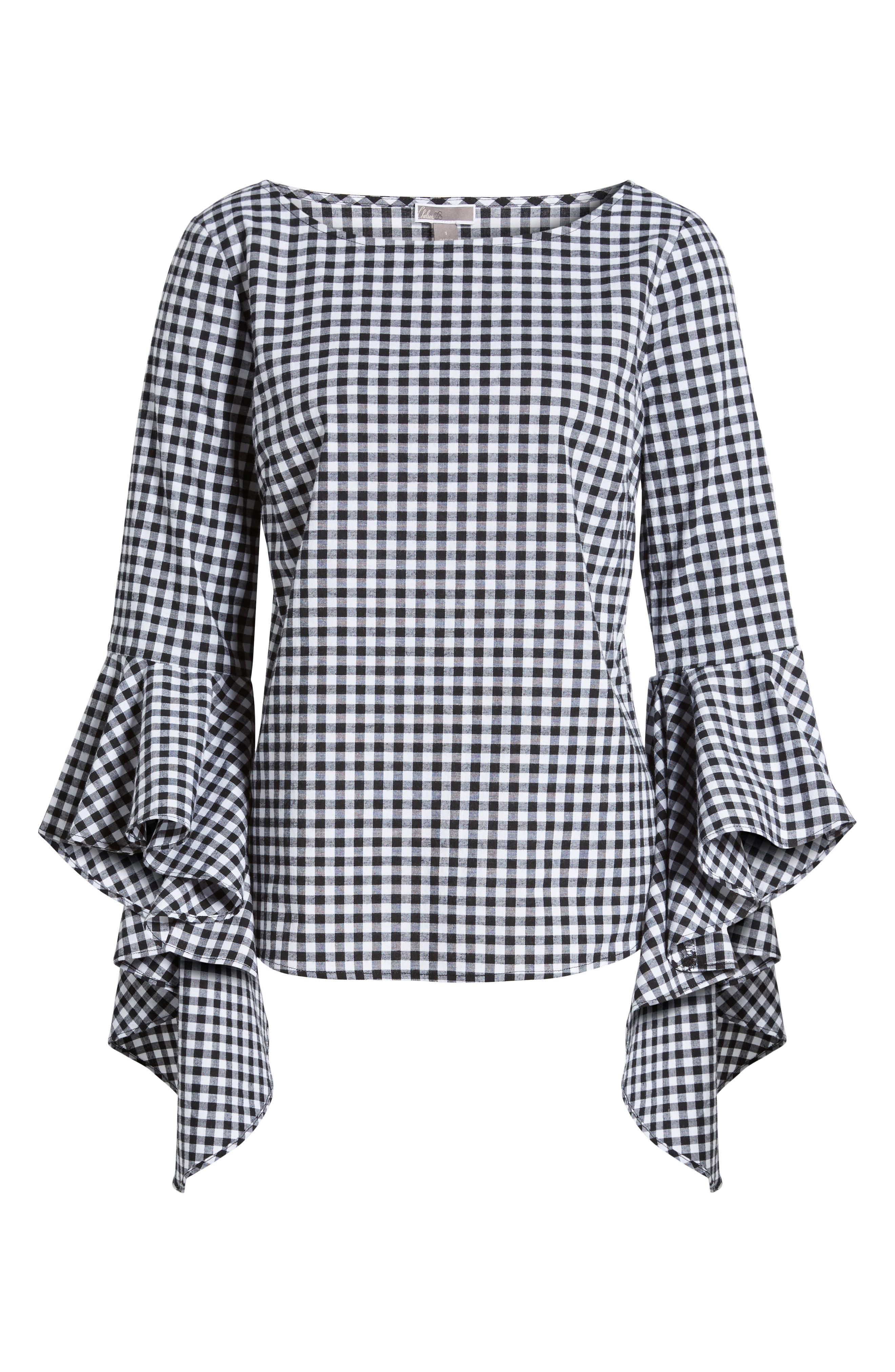 Gingham Ruffle Sleeve Top,                             Alternate thumbnail 6, color,                             001