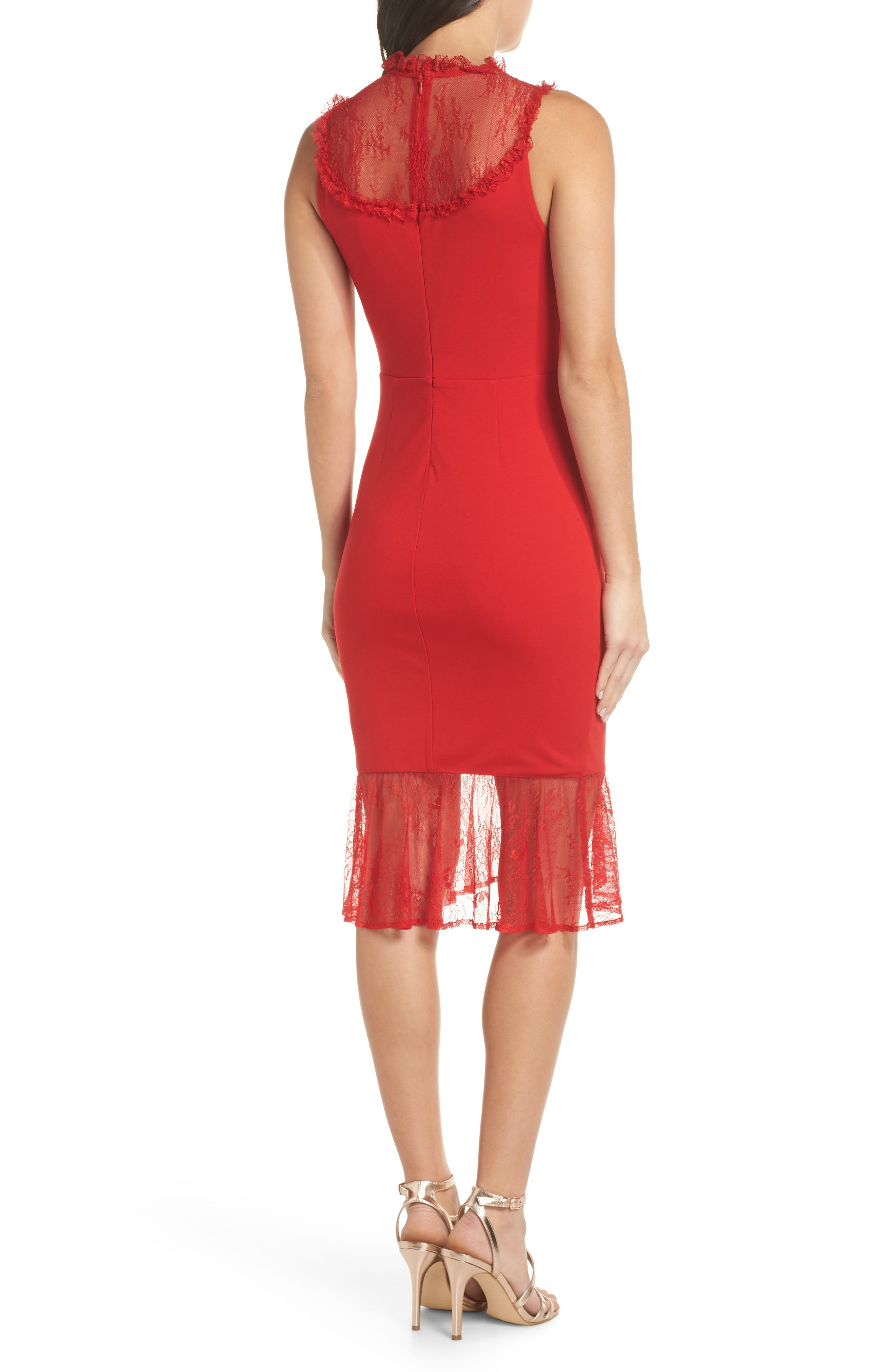 ALI & JAY,                             Two to Tango Lace Detail Dress,                             Alternate thumbnail 2, color,                             SCARLET