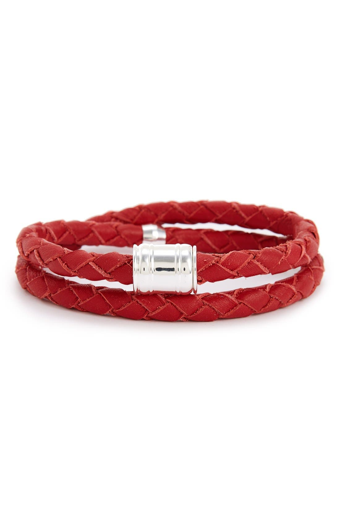 Braided Leather Bracelet,                             Main thumbnail 10, color,