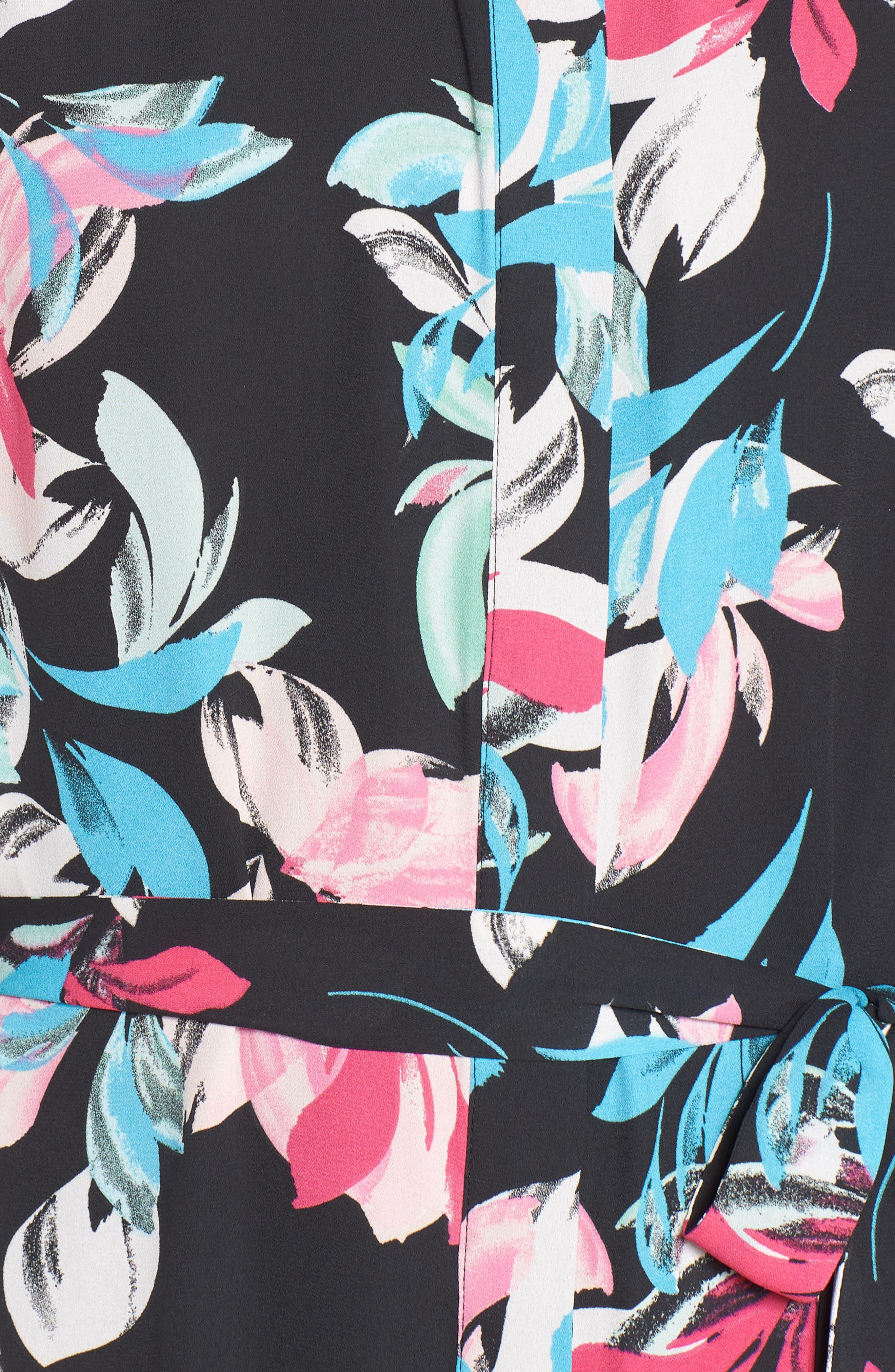 Ruffle Hem Henley Shirtdress,                             Alternate thumbnail 6, color,                             BLACK FLORAL