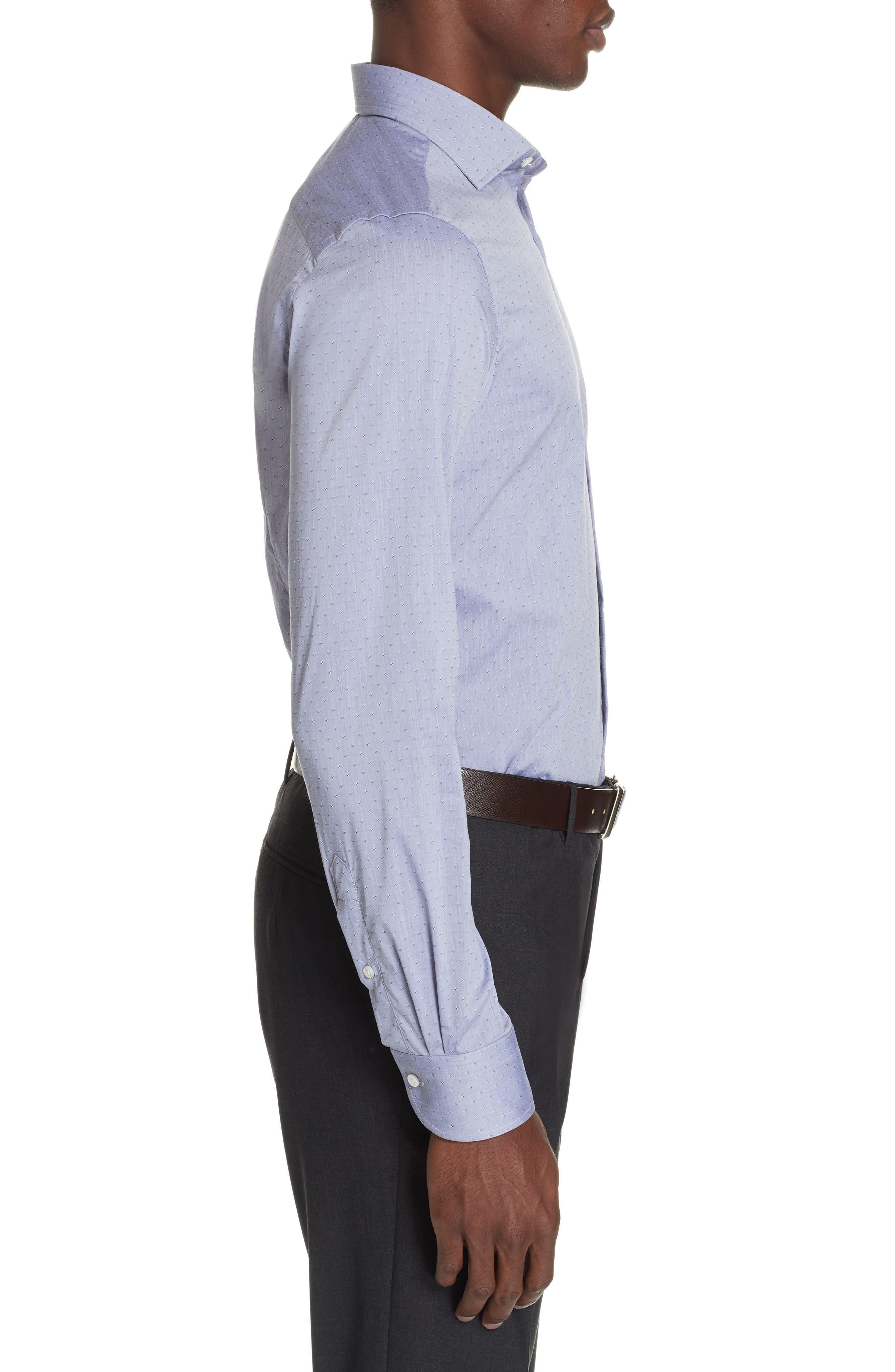 Slim Fit Stretch Dot Dress Shirt,                             Alternate thumbnail 4, color,                             MED GREY