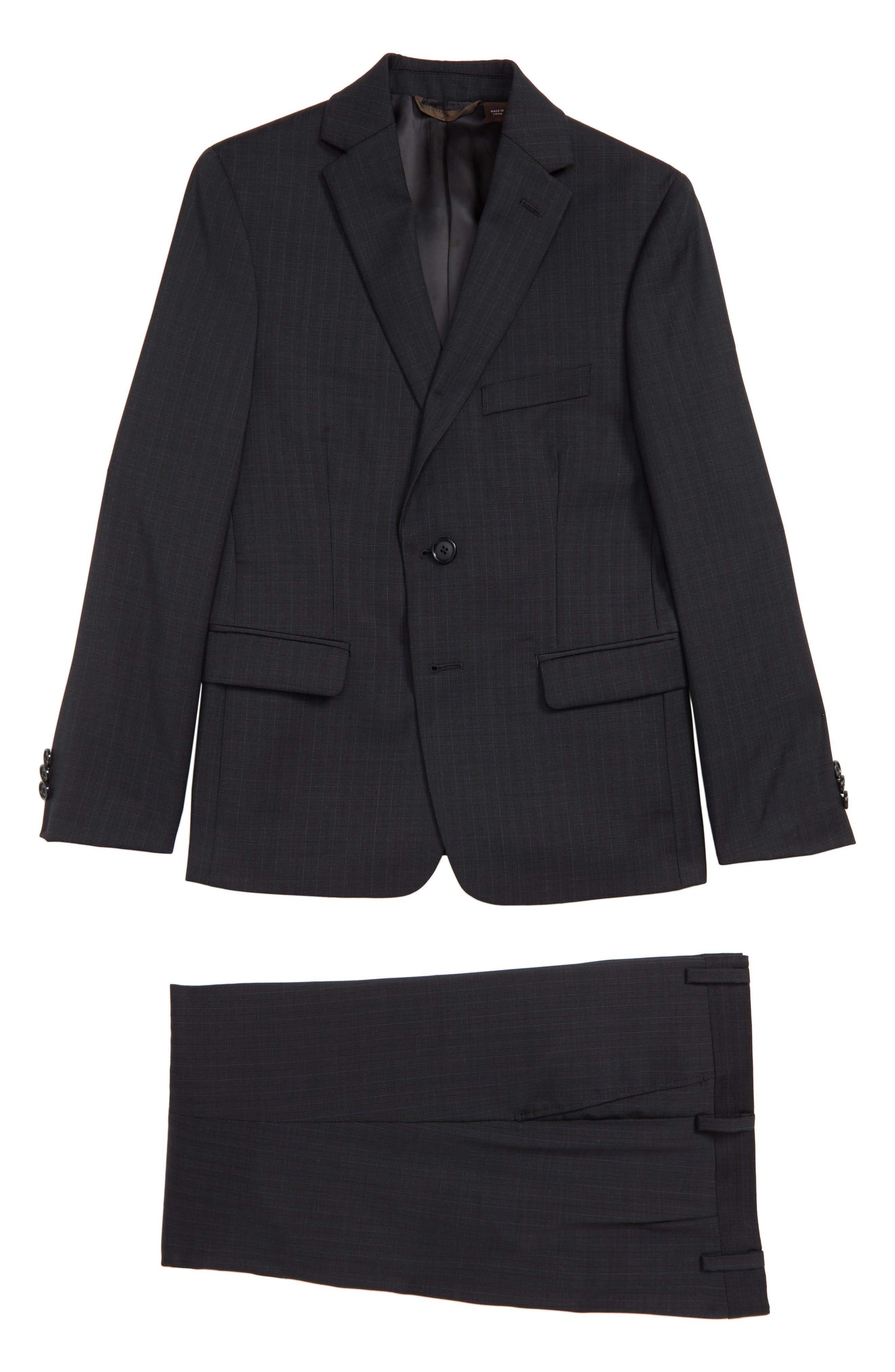 Check Wool Suit,                             Main thumbnail 1, color,                             BLACK / BLUE