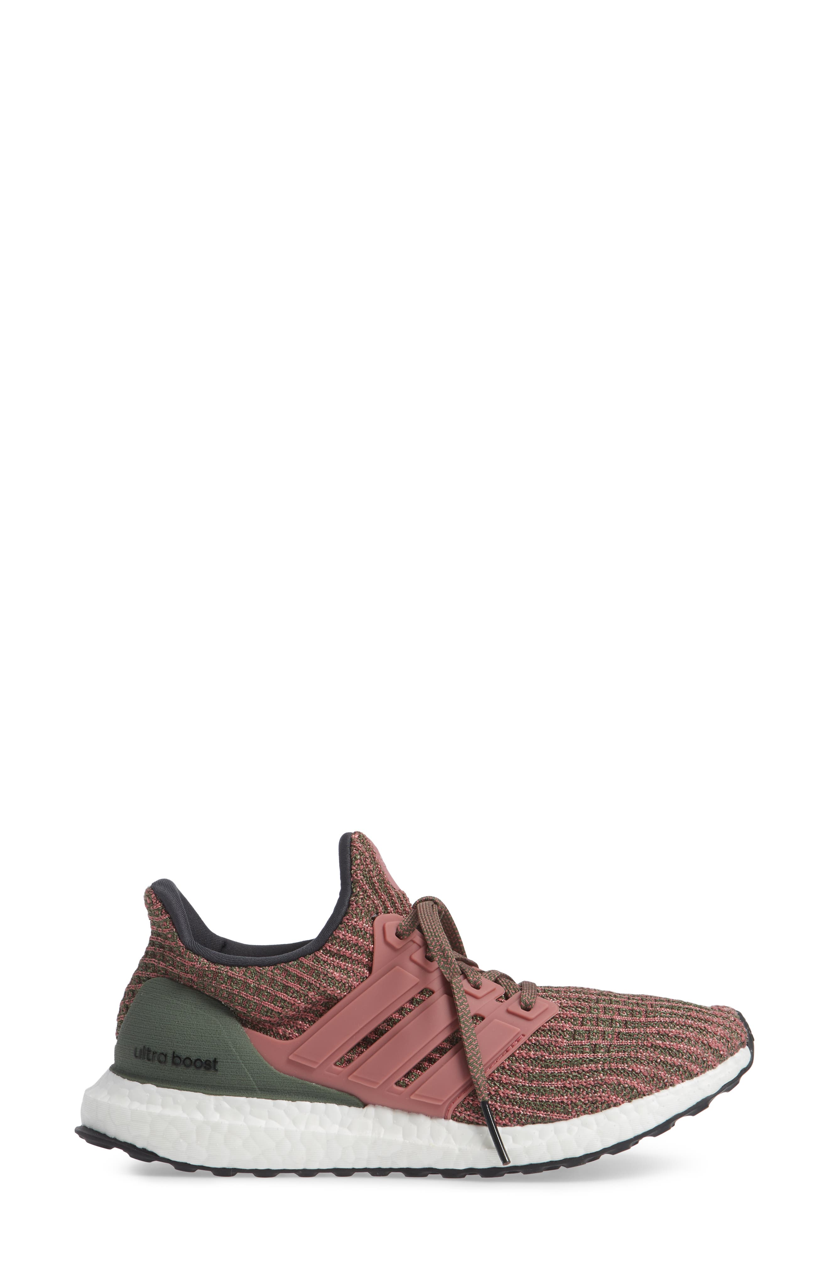 'UltraBoost' Running Shoe,                             Alternate thumbnail 3, color,                             TRACE MAROON/ BASE GREEN