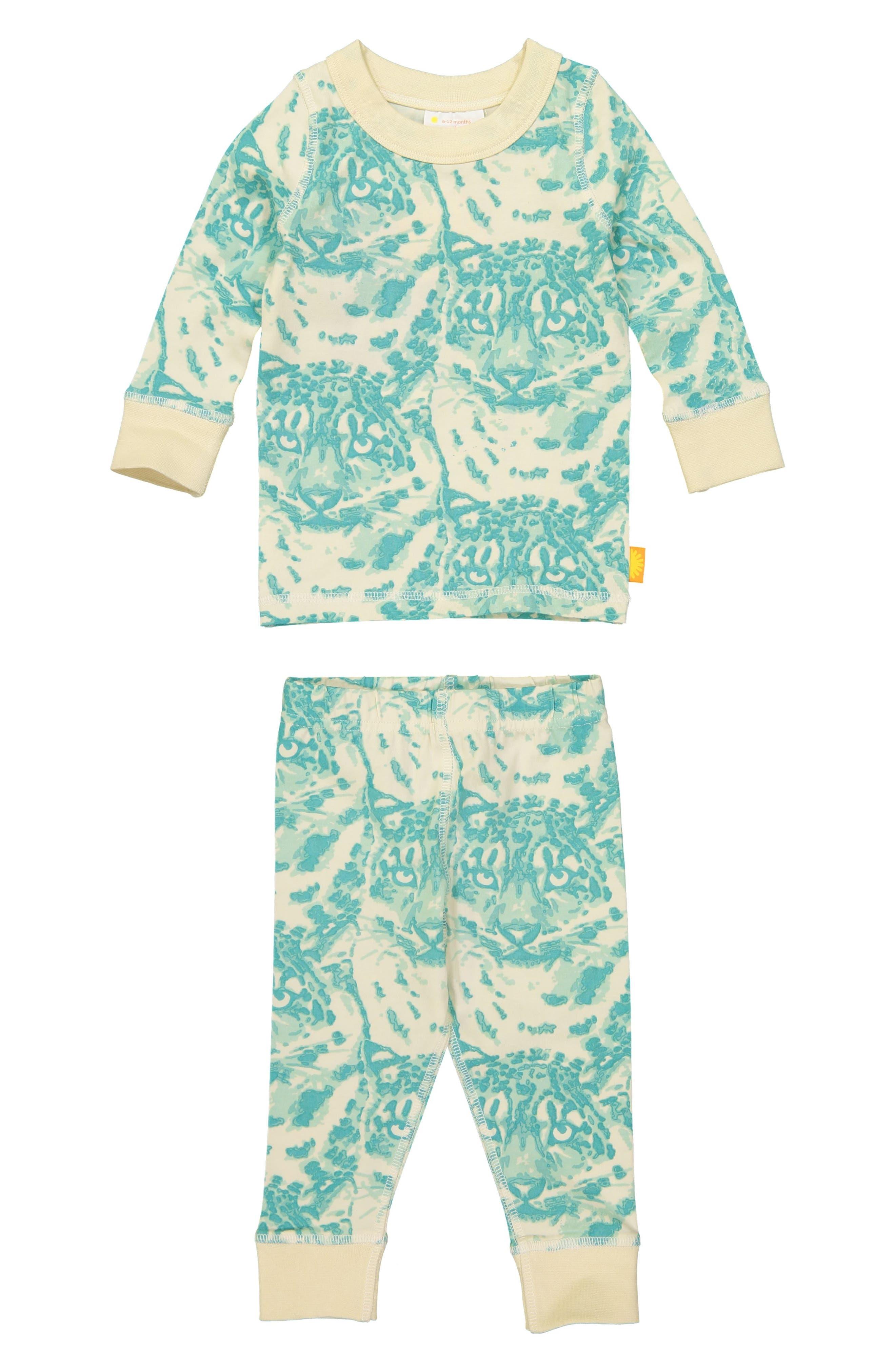 Cat Camo Organic Cotton Fitted Two-Piece Pajamas,                             Main thumbnail 1, color,                             AQUA