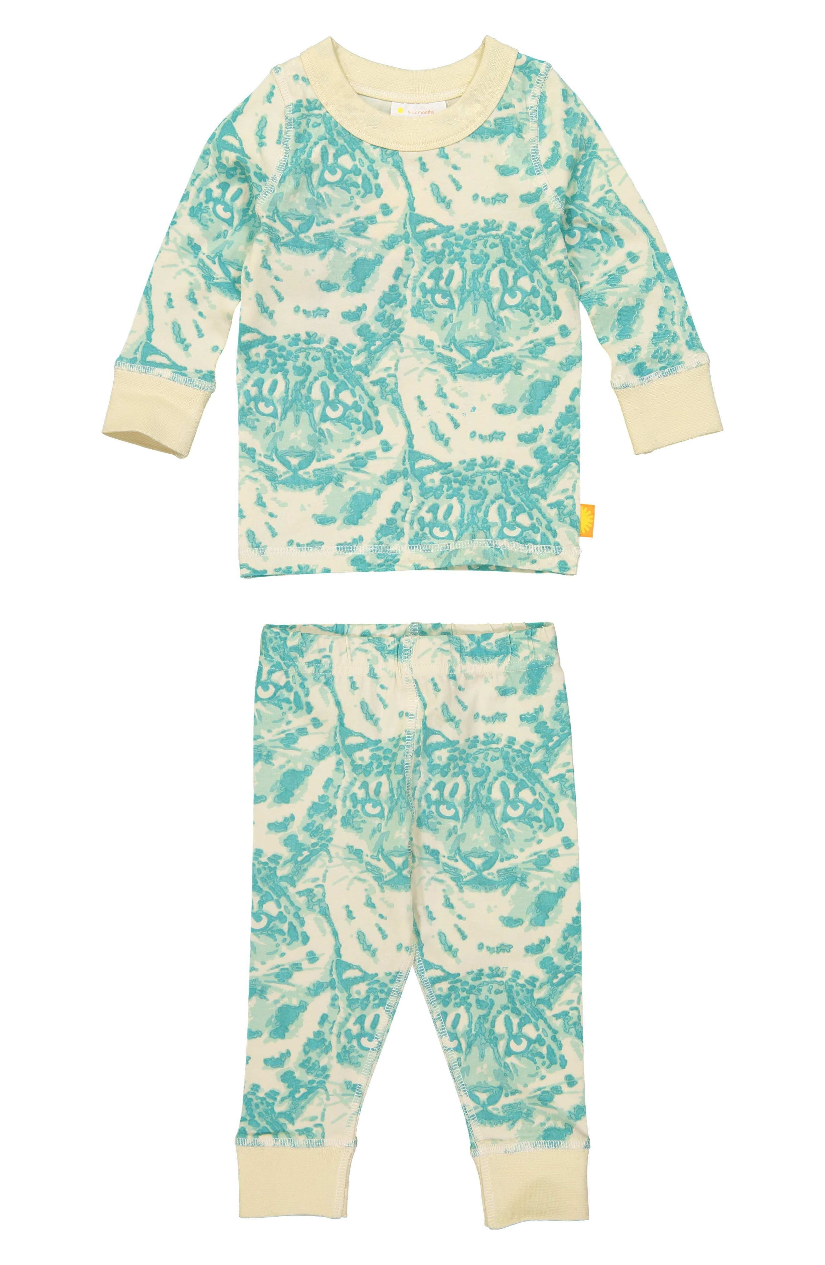 Cat Camo Organic Cotton Fitted Two-Piece Pajamas,                         Main,                         color, AQUA