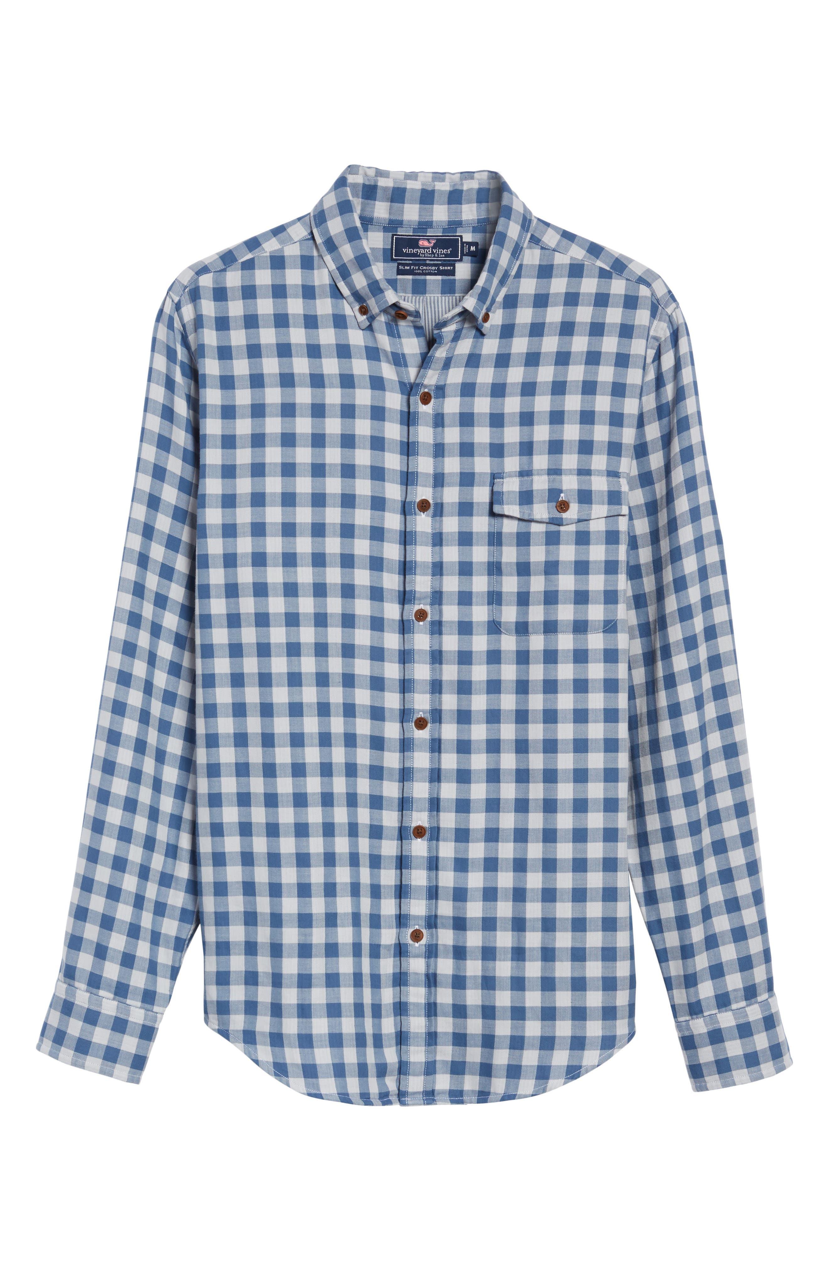 Crosby Slim Blue Heron Gingham Sport Shirt,                             Alternate thumbnail 6, color,                             461