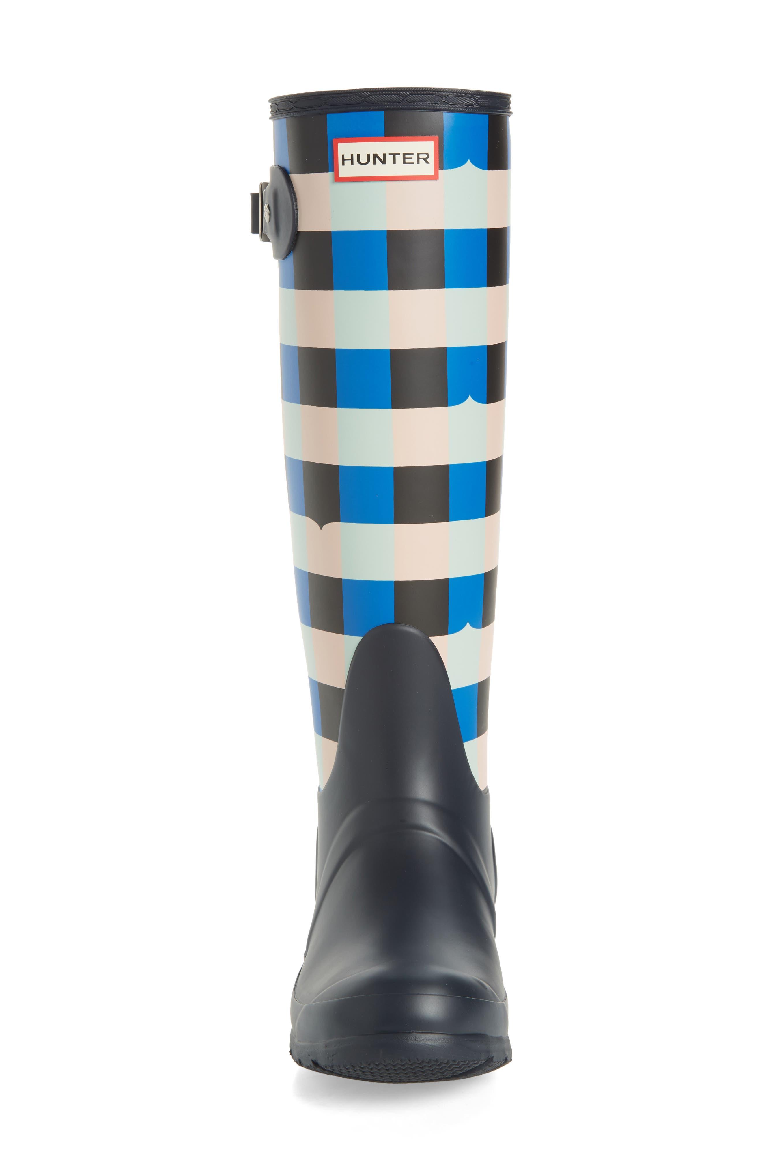 HUNTER,                             Original Tall Gingham Waterproof Rain Boot,                             Alternate thumbnail 4, color,                             410