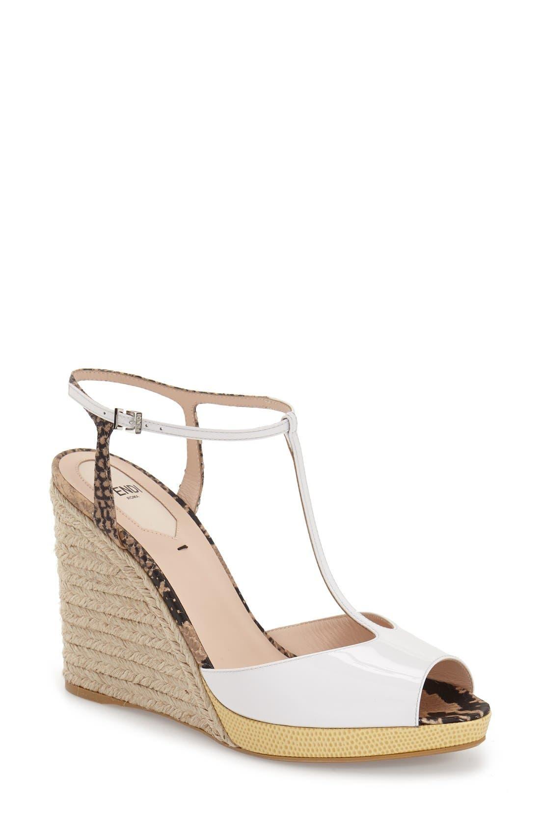 'Elodie' T-Strap Wedge Sandal,                             Main thumbnail 2, color,