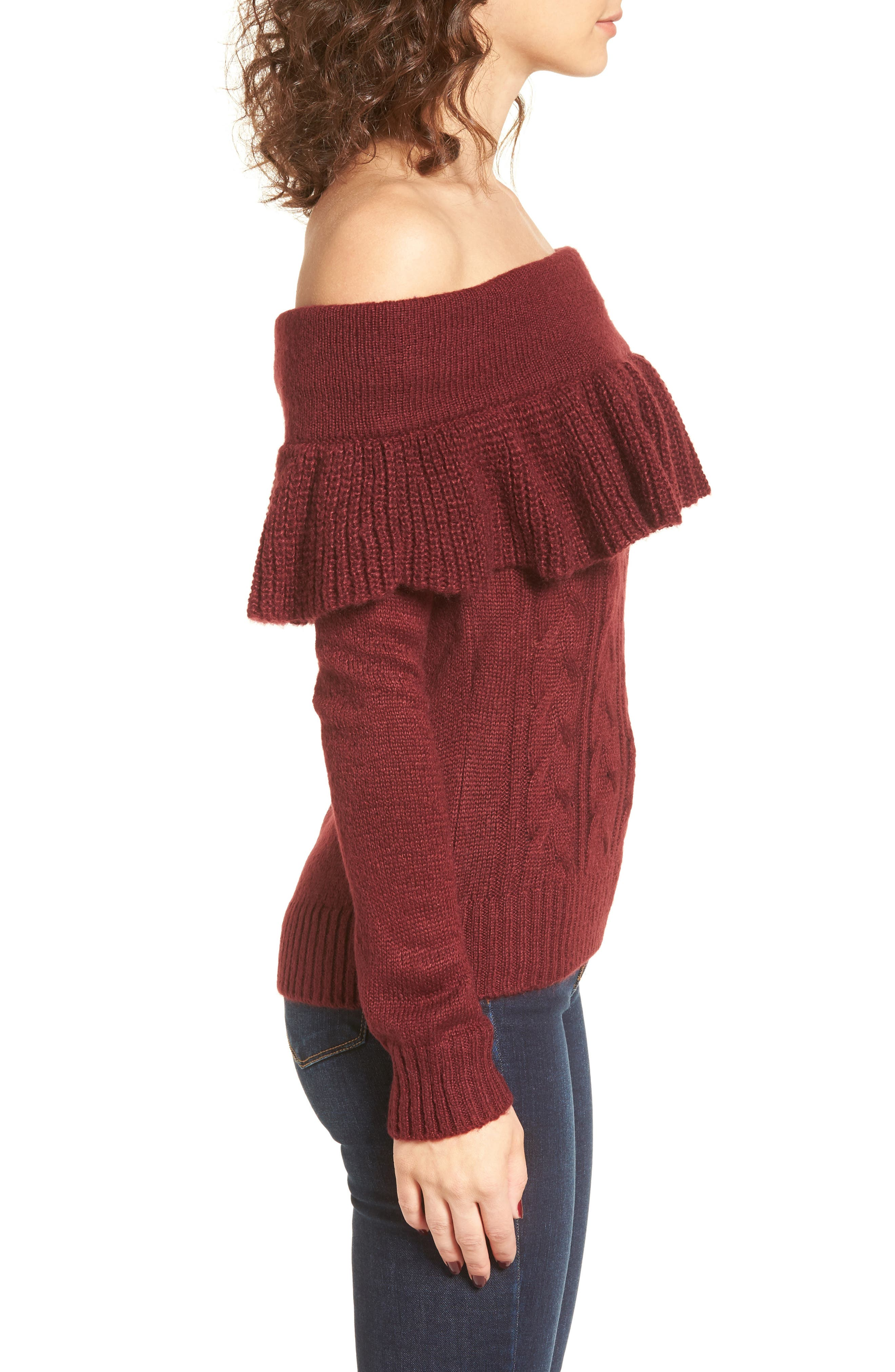 Sheldon Off the Shoulder Sweater,                             Alternate thumbnail 3, color,                             600