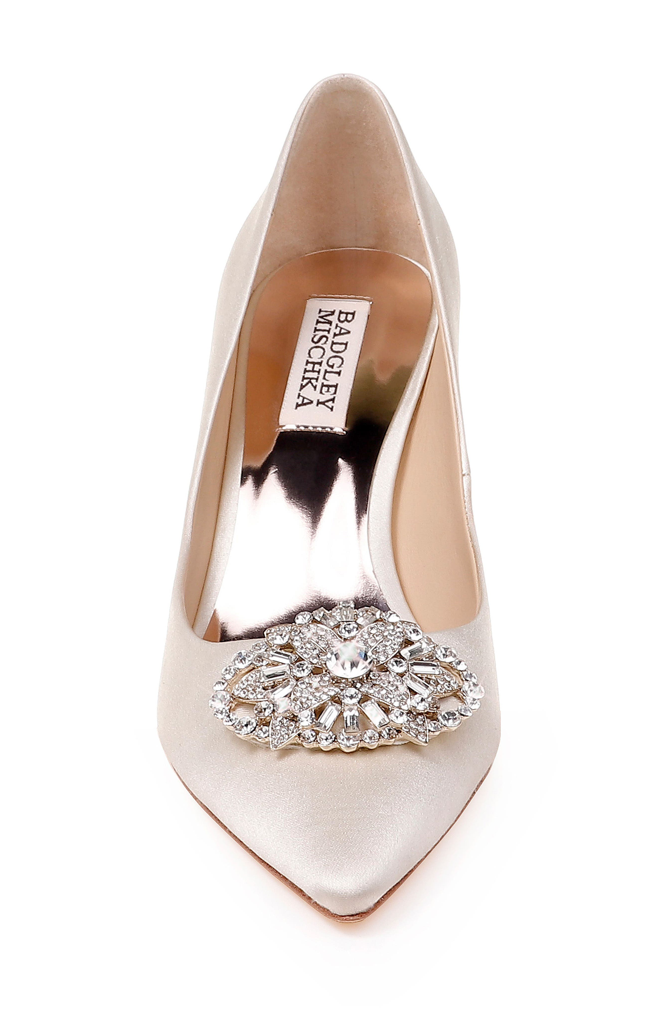 Sunshine Embellished Pump,                             Alternate thumbnail 4, color,                             IVORY SATIN