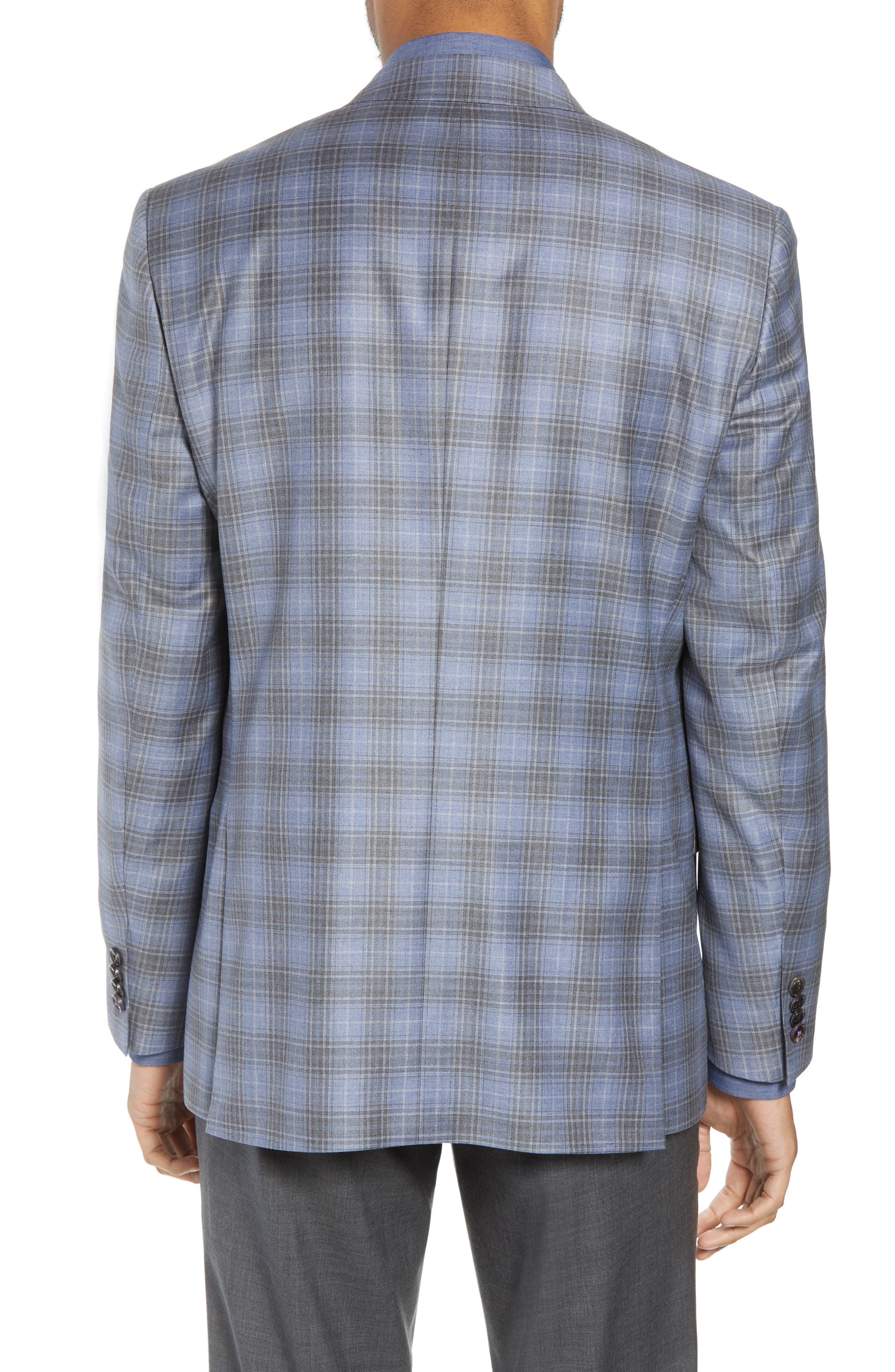 Jay Trim Fit Plaid Wool Sport Coat,                             Alternate thumbnail 2, color,                             400