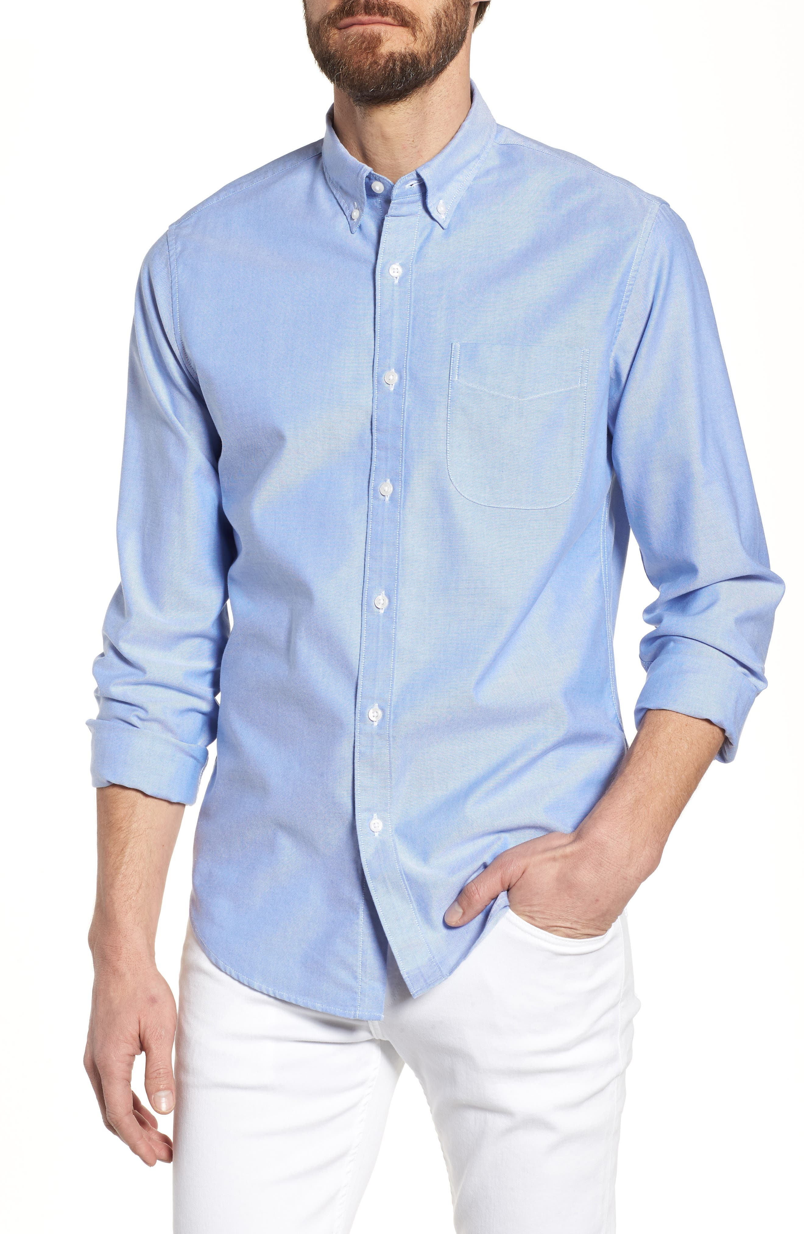 Slim Fit Stretch Pima Cotton Oxford Shirt,                             Main thumbnail 4, color,