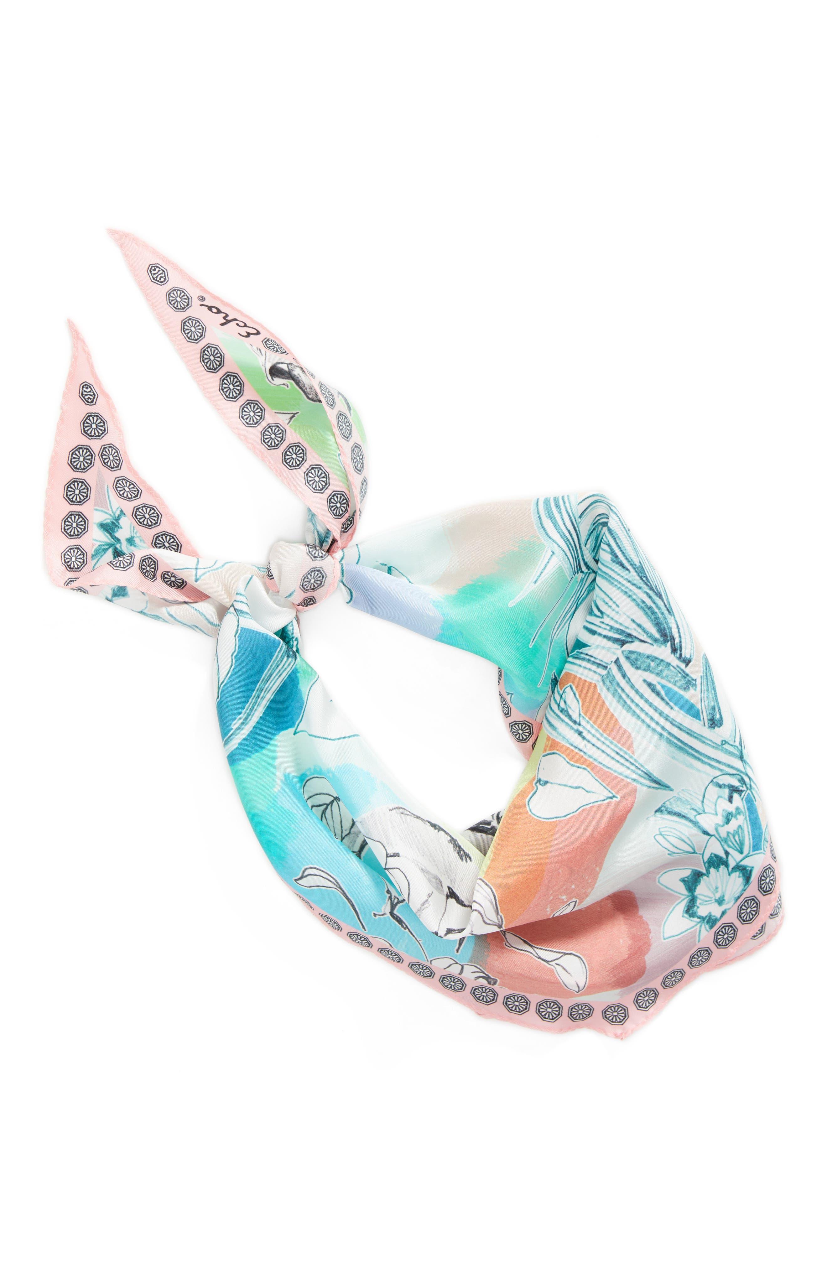 Seaside Floral Diamond Silk Scarf,                             Alternate thumbnail 2, color,                             100
