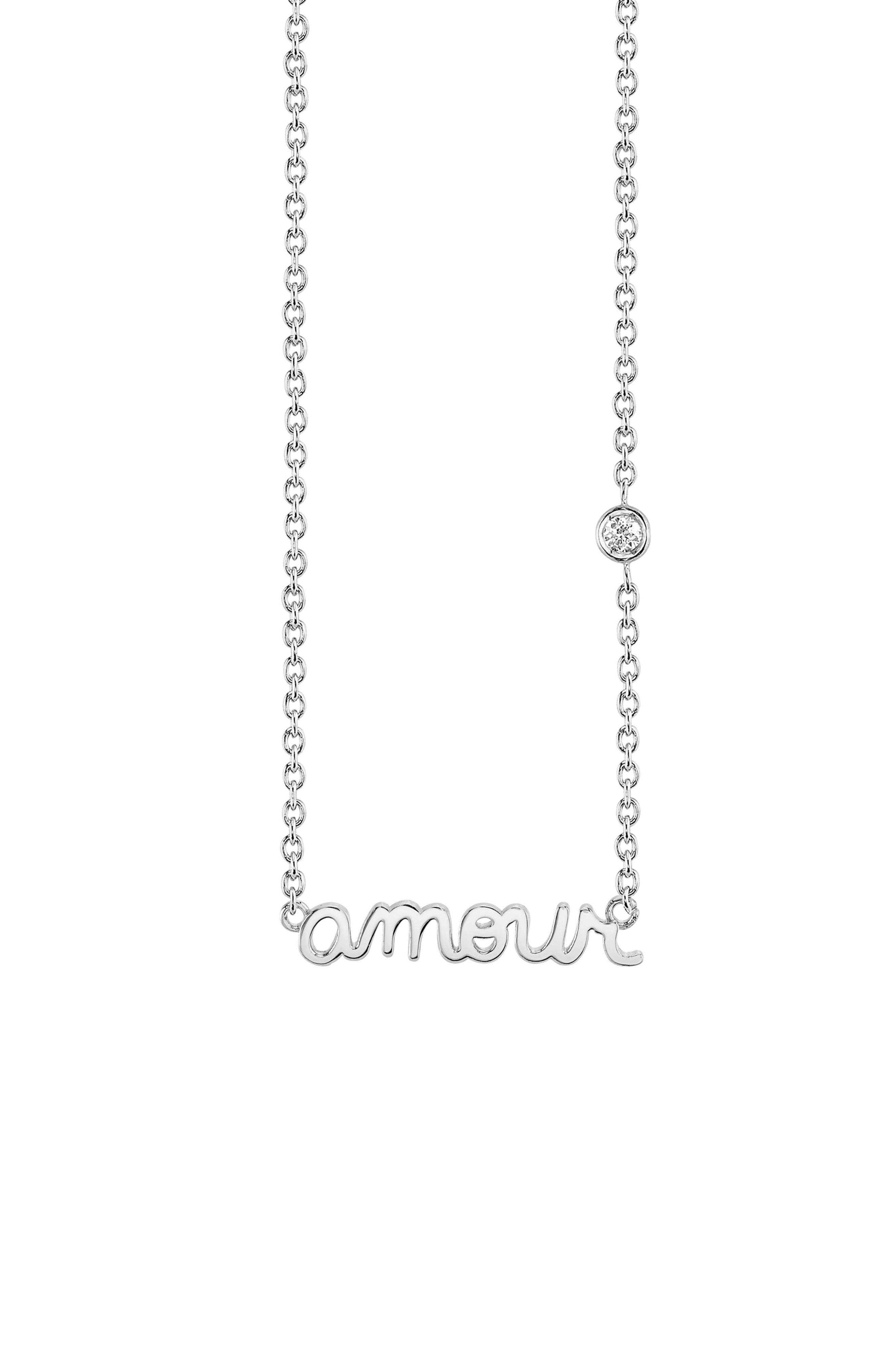 Amour Pendant Necklace,                         Main,                         color, SILVER
