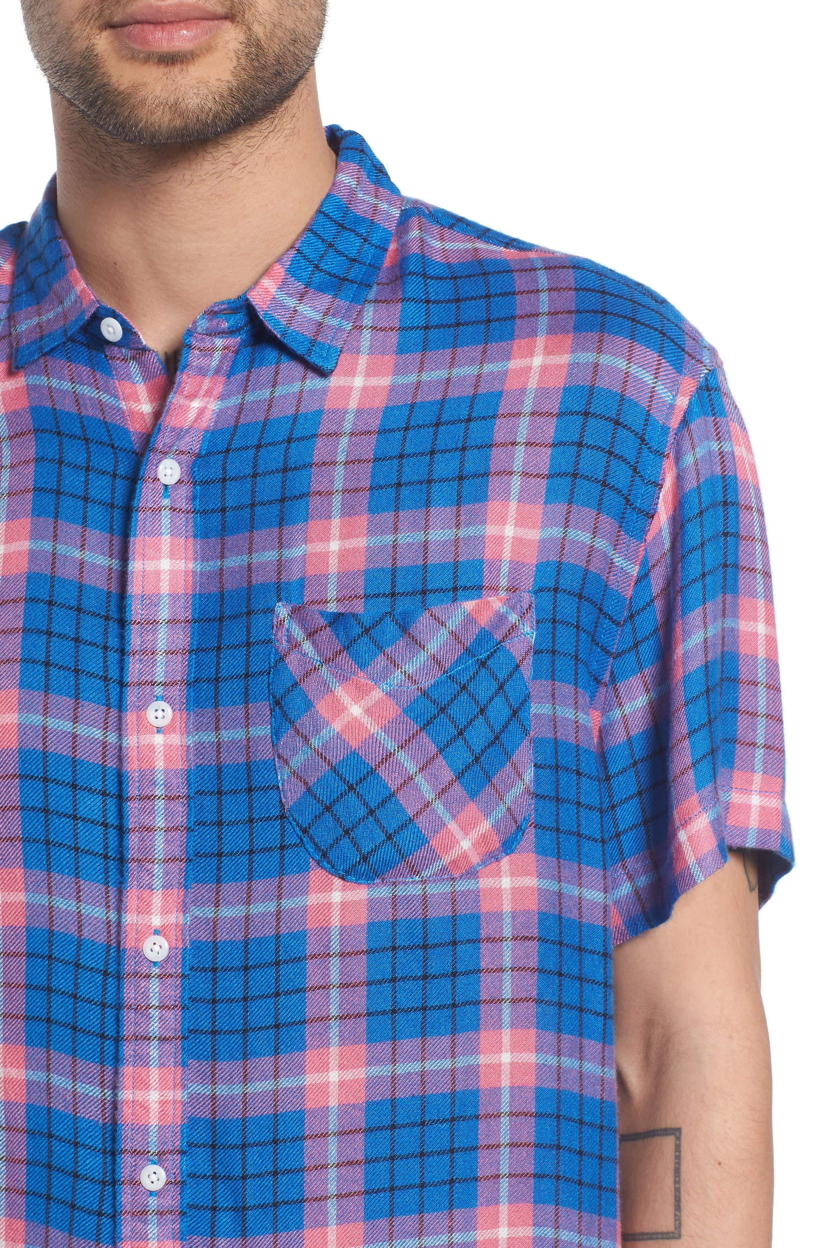 Flannel Woven Shirt,                             Alternate thumbnail 4, color,                             BLUE CAMP PINK BECK PLAID