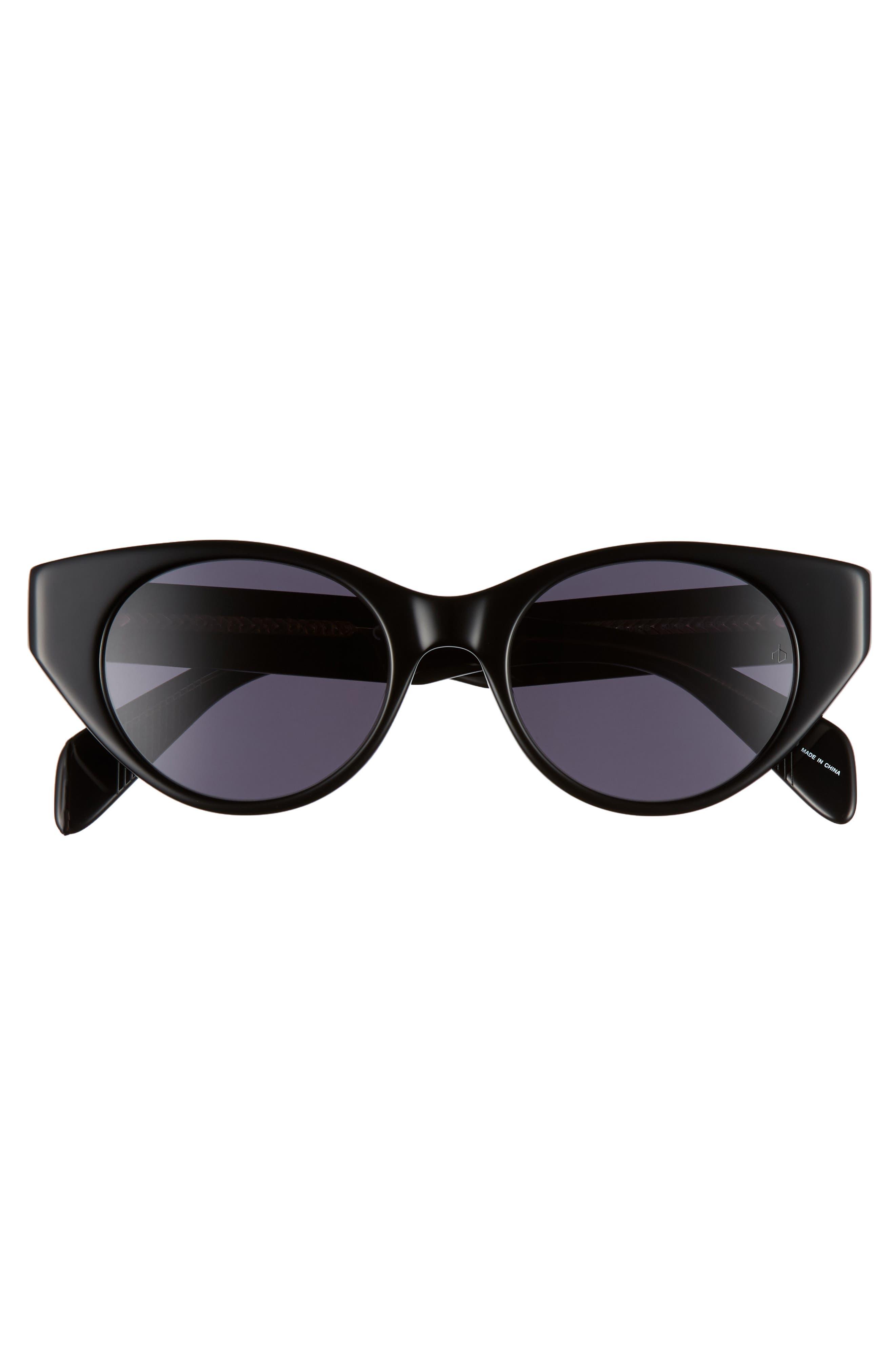 49mm Cat Eye Sunglasses,                             Alternate thumbnail 3, color,                             BLACK