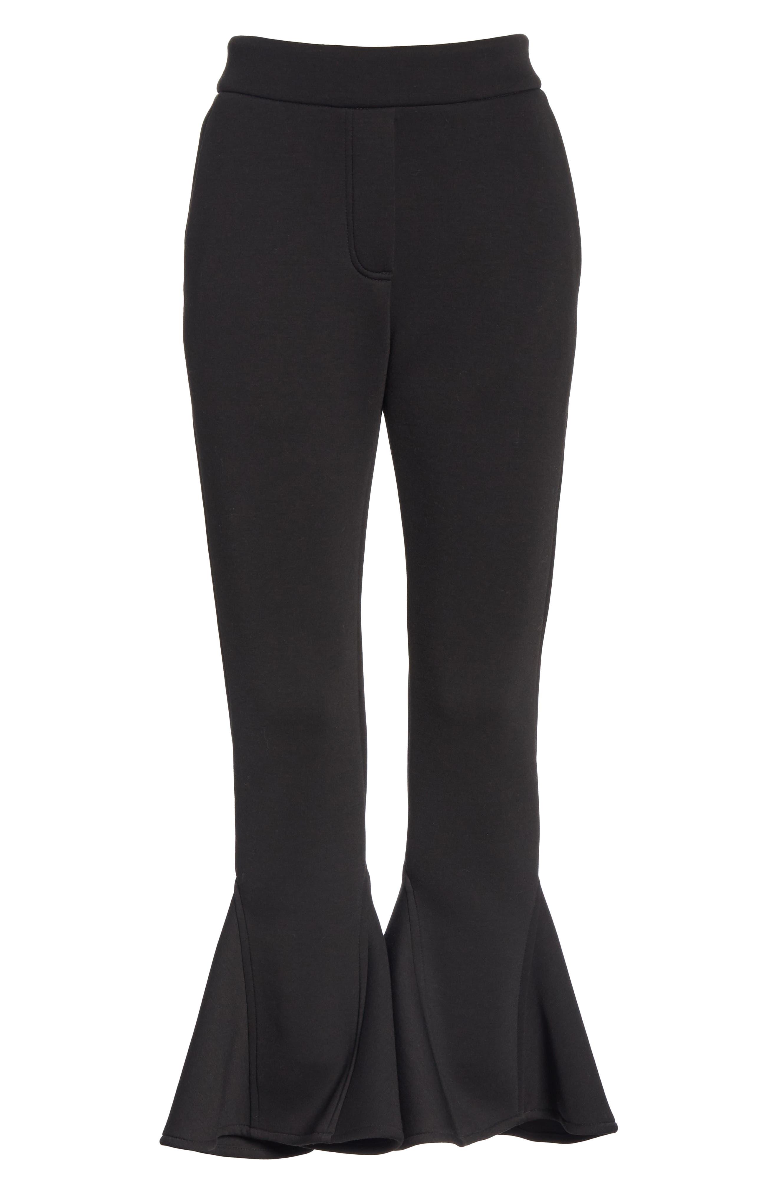 Ruffle Bell Bottom Neoprene Pants,                             Alternate thumbnail 6, color,                             BLACK